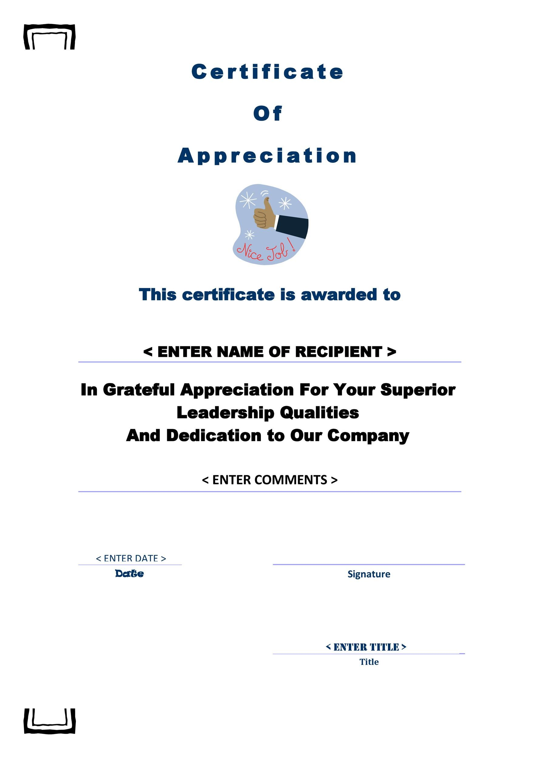 Free certificate of appreciation templates and letters printable certificate of appreciation 12 yelopaper Choice Image