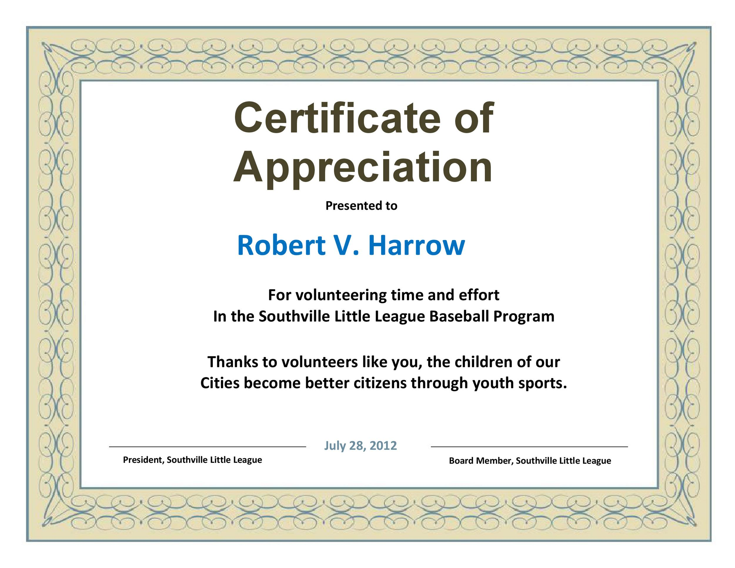 30 free certificate of appreciation templates and letters printable certificate of appreciation 13 yelopaper Gallery