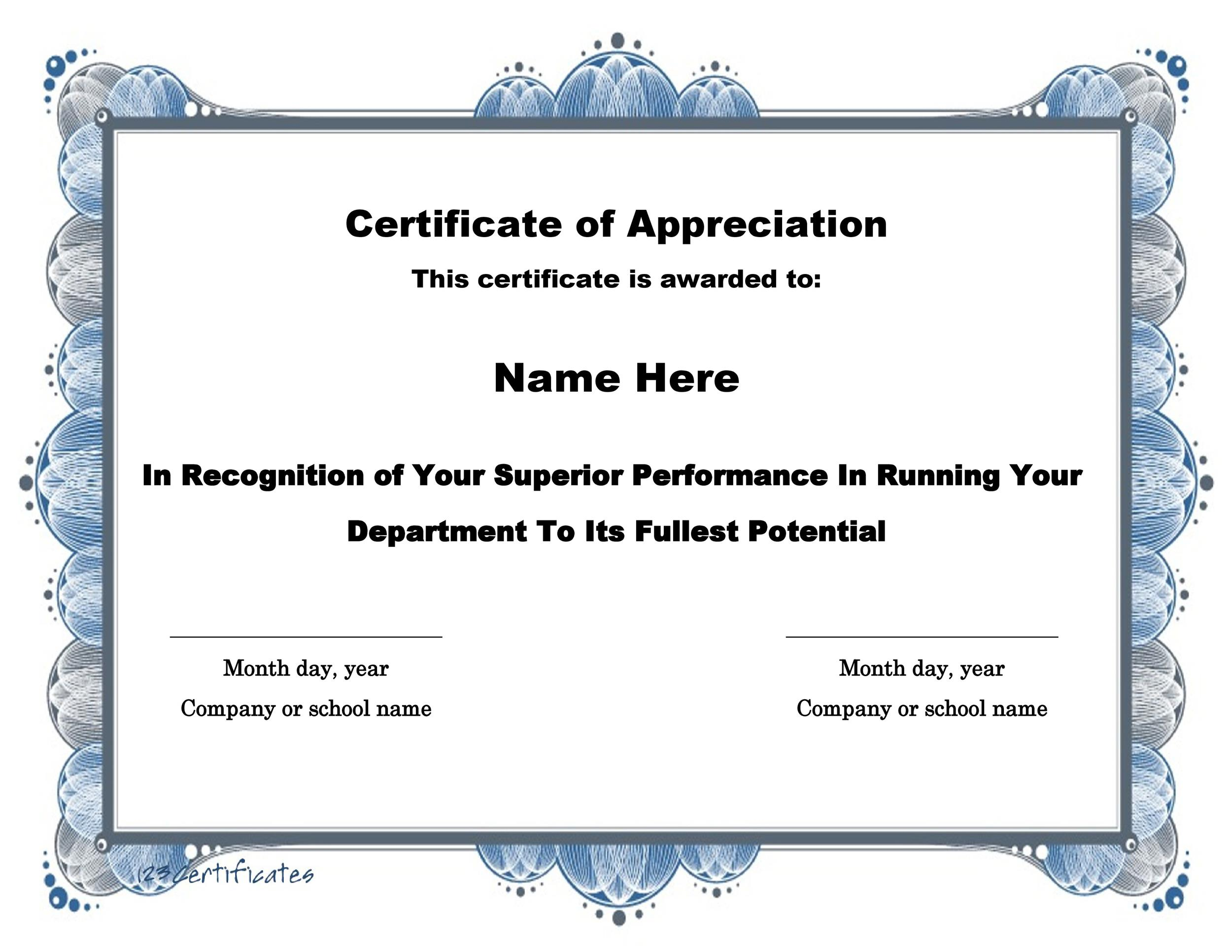 30 free certificate of appreciation templates and letters printable certificate of appreciation 15 yelopaper