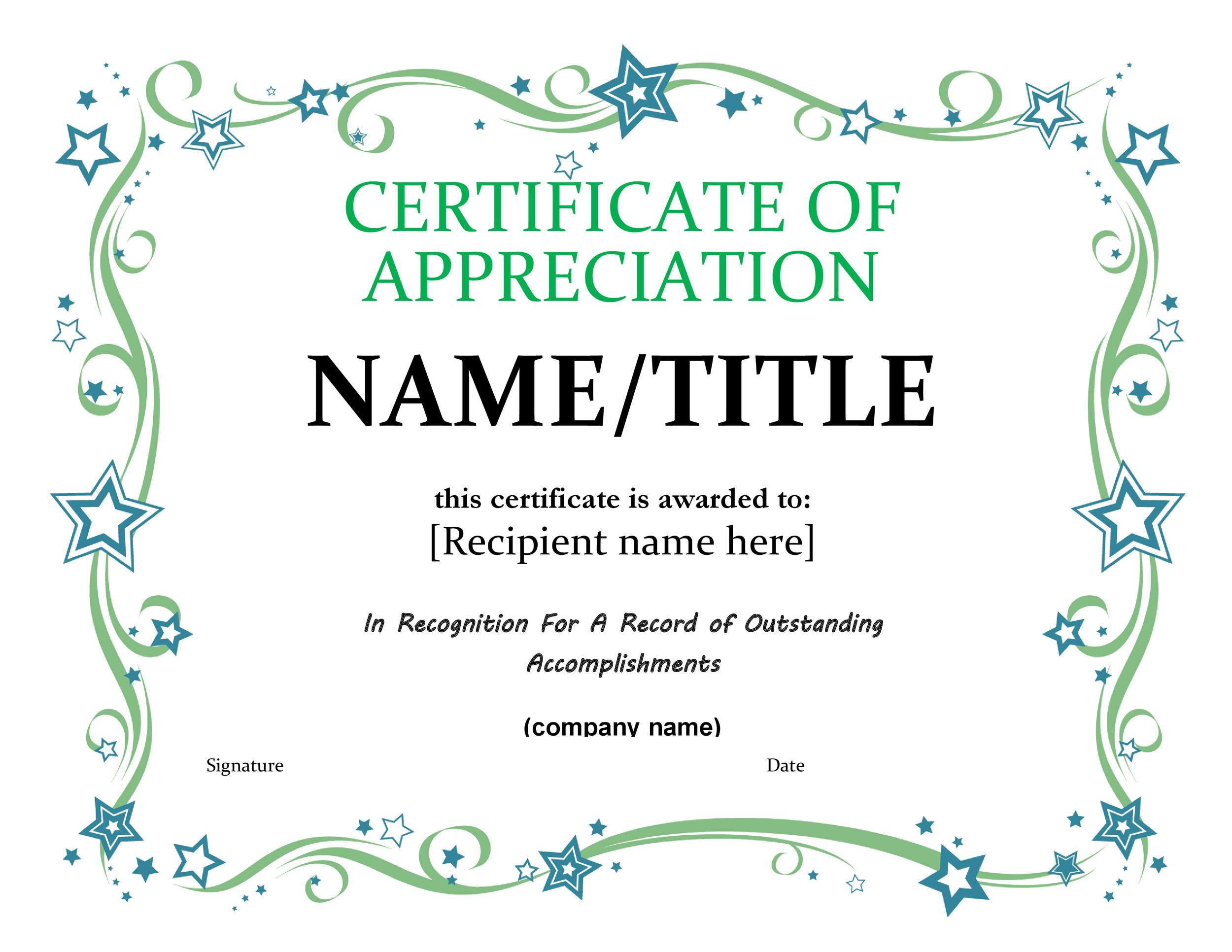 Free certificate of appreciation templates and letters printable certificate of appreciation 17 yadclub Images