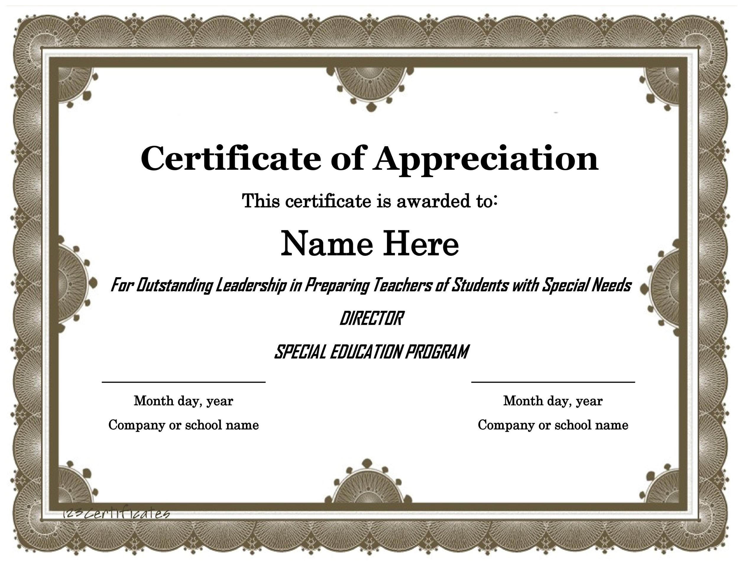 Printable Certificate Of Appreciation 19  Appreciation Certificates Wording