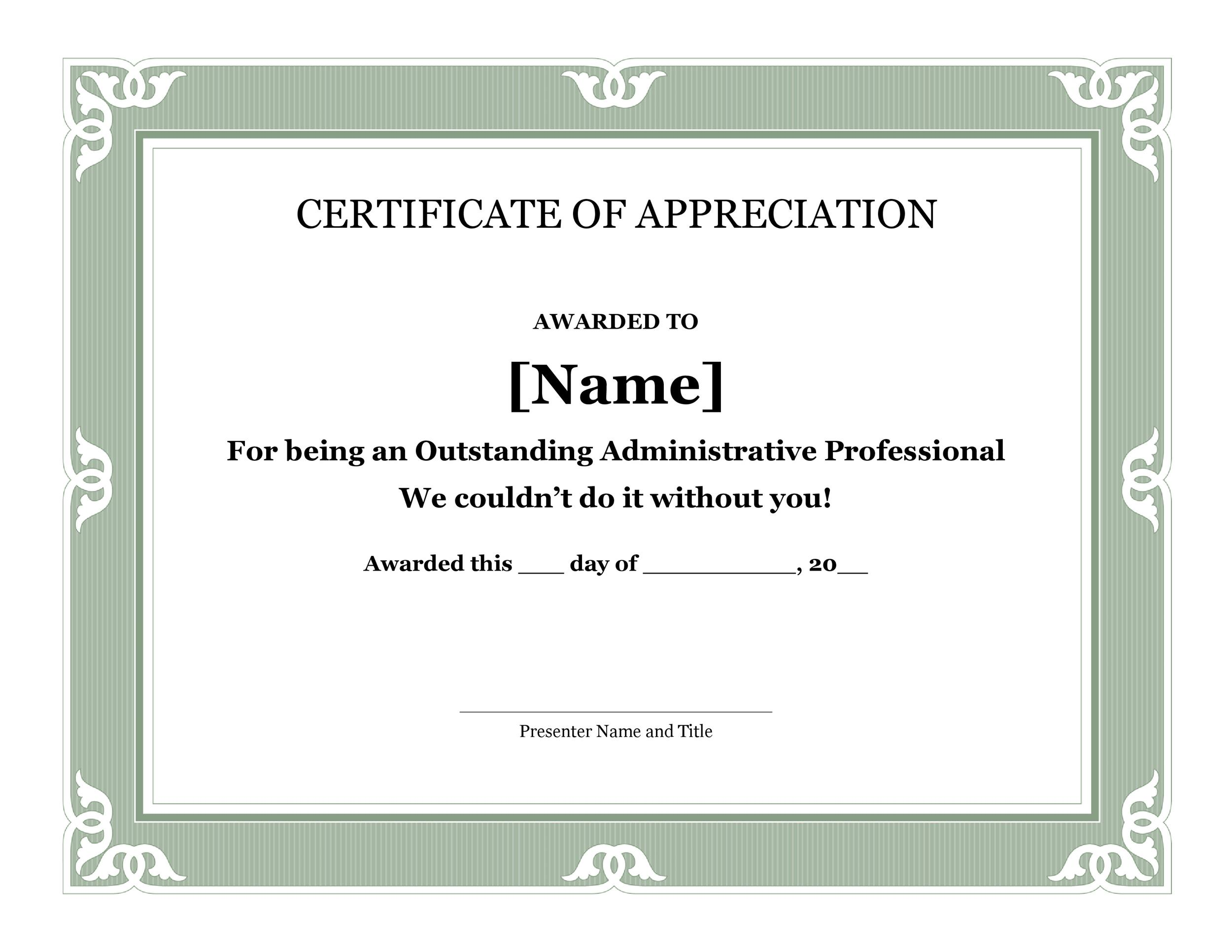 word template certificate of appreciation