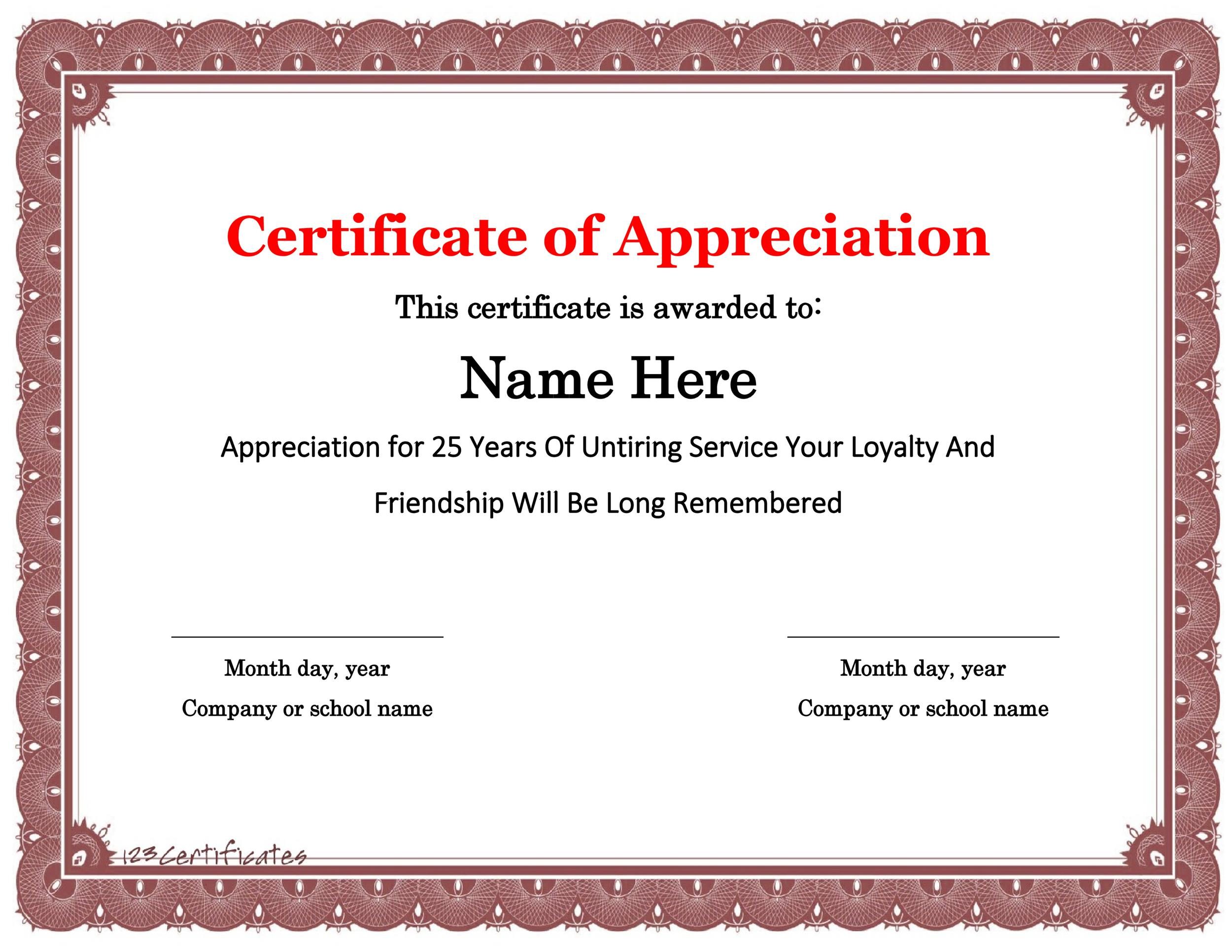 Free Certificate of Appreciation 20