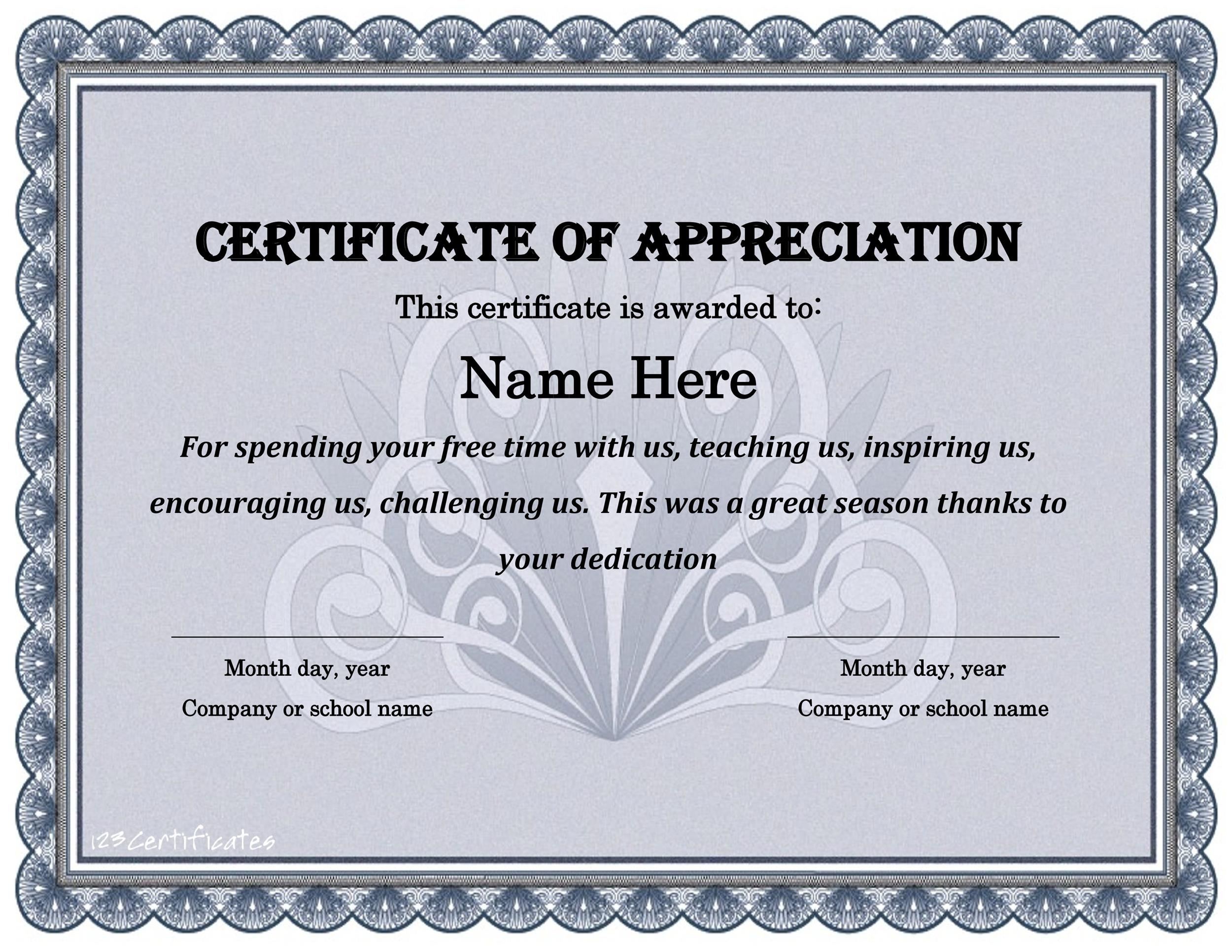 Printable Certificate Of Appreciation 21  Certificates Of Appreciation Wording Samples