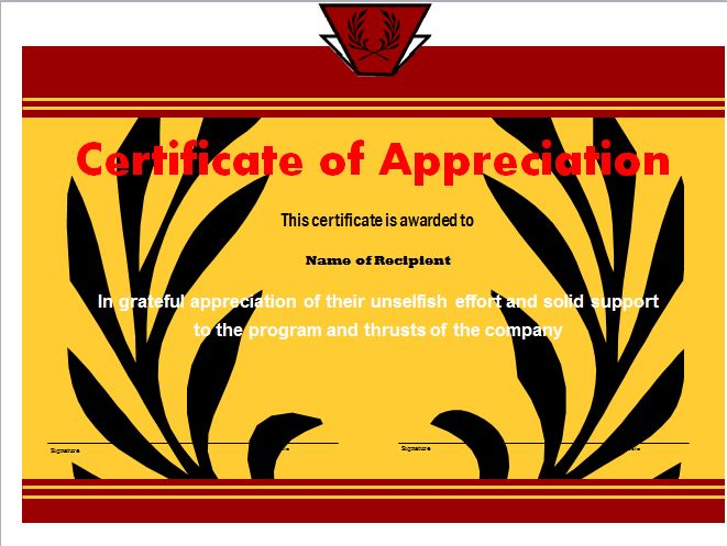 Free Certificate of Appreciation 22
