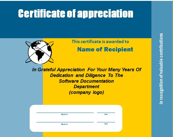Free Certificate of Appreciation 24