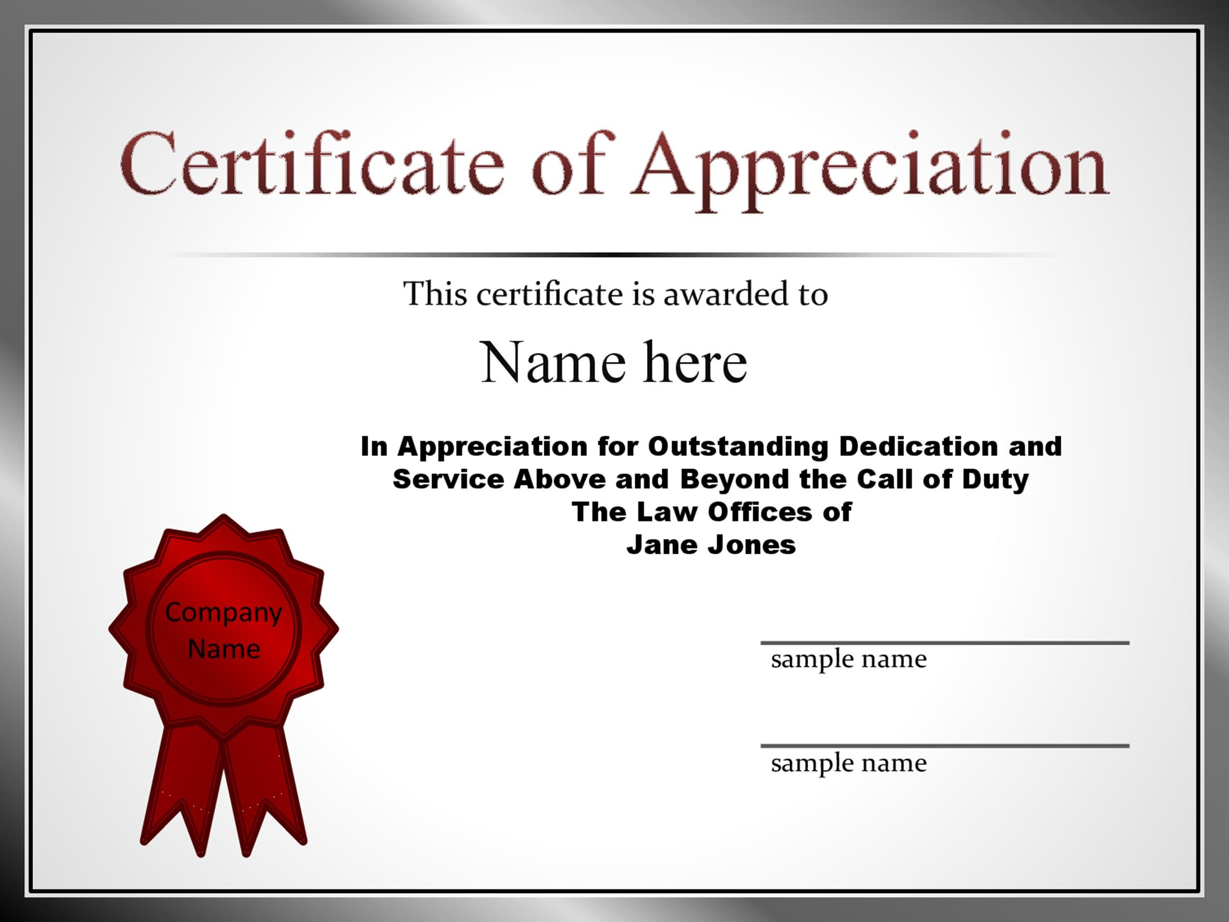 Printable Certificate Of Appreciation 25  Certificates Of Appreciation Wording Samples