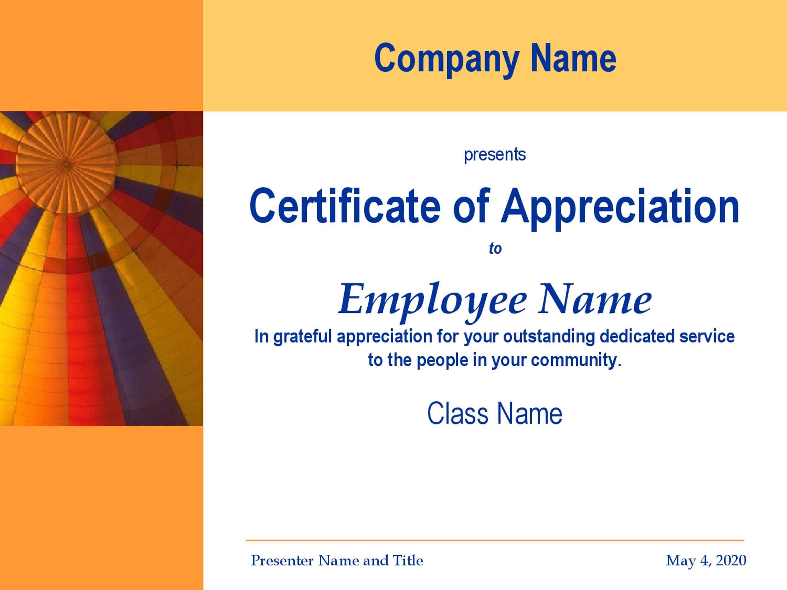 Free Certificate of Appreciation 26