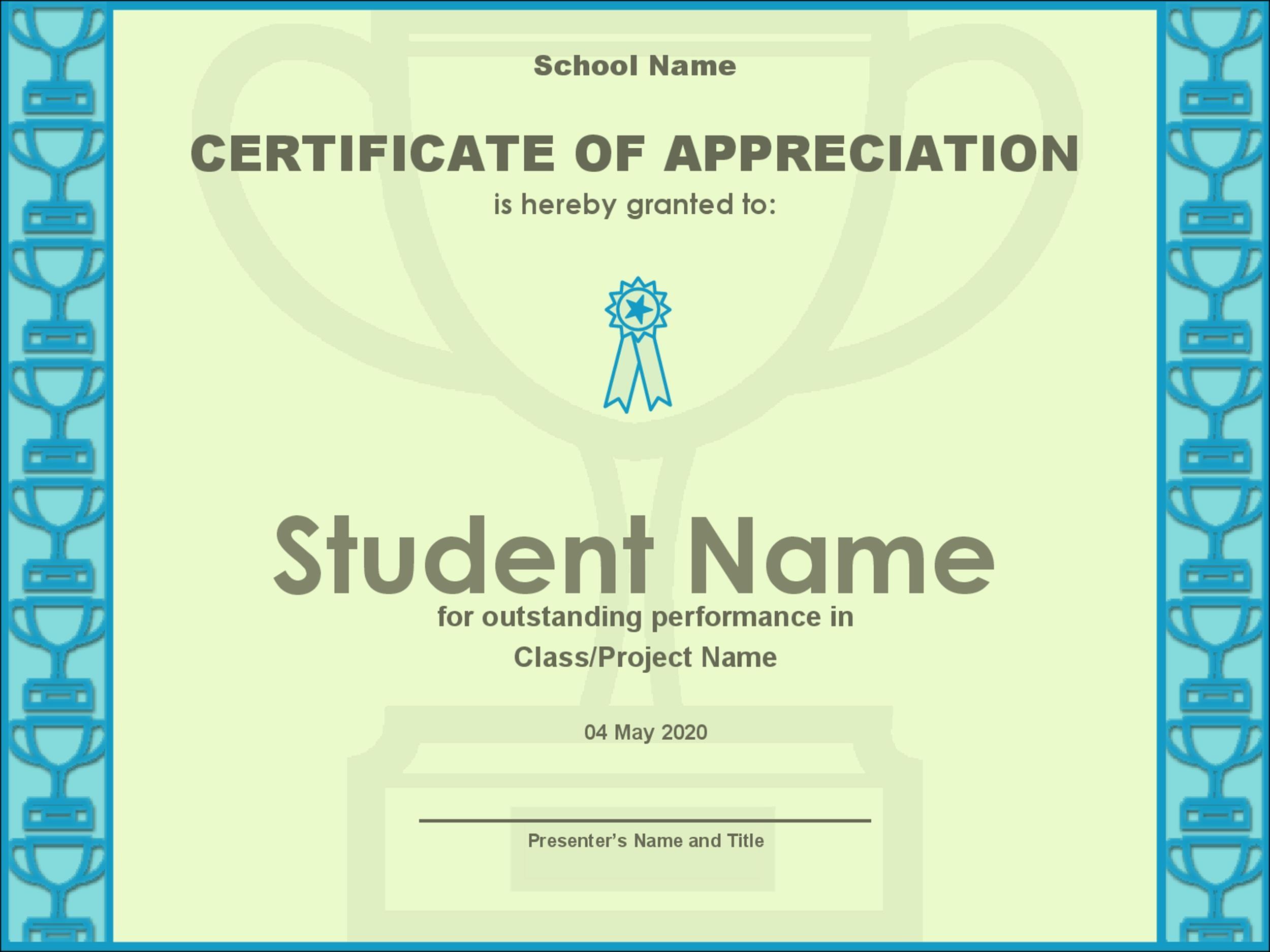 Free Certificate of Appreciation 27