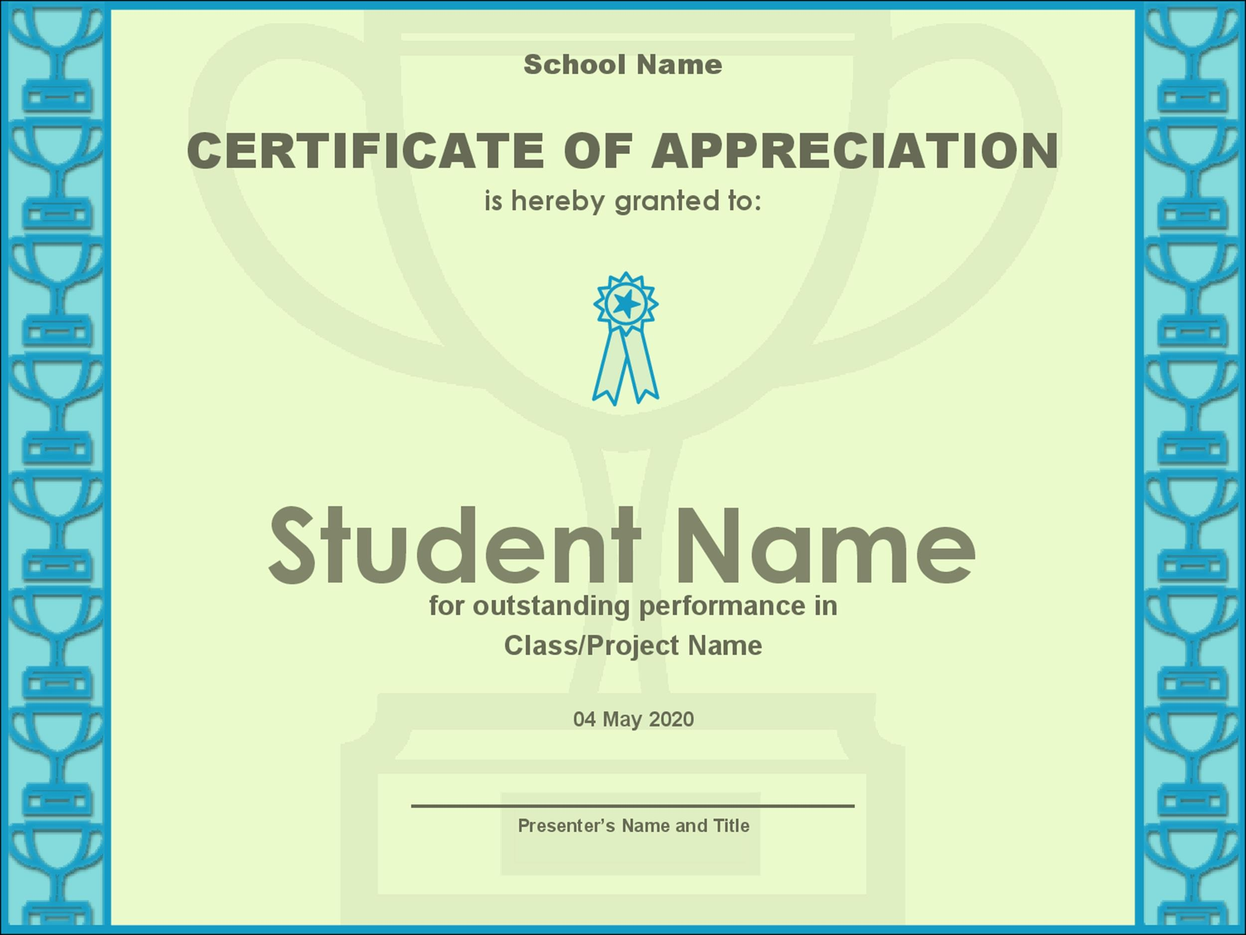 Free Certificate of Appreciation 27