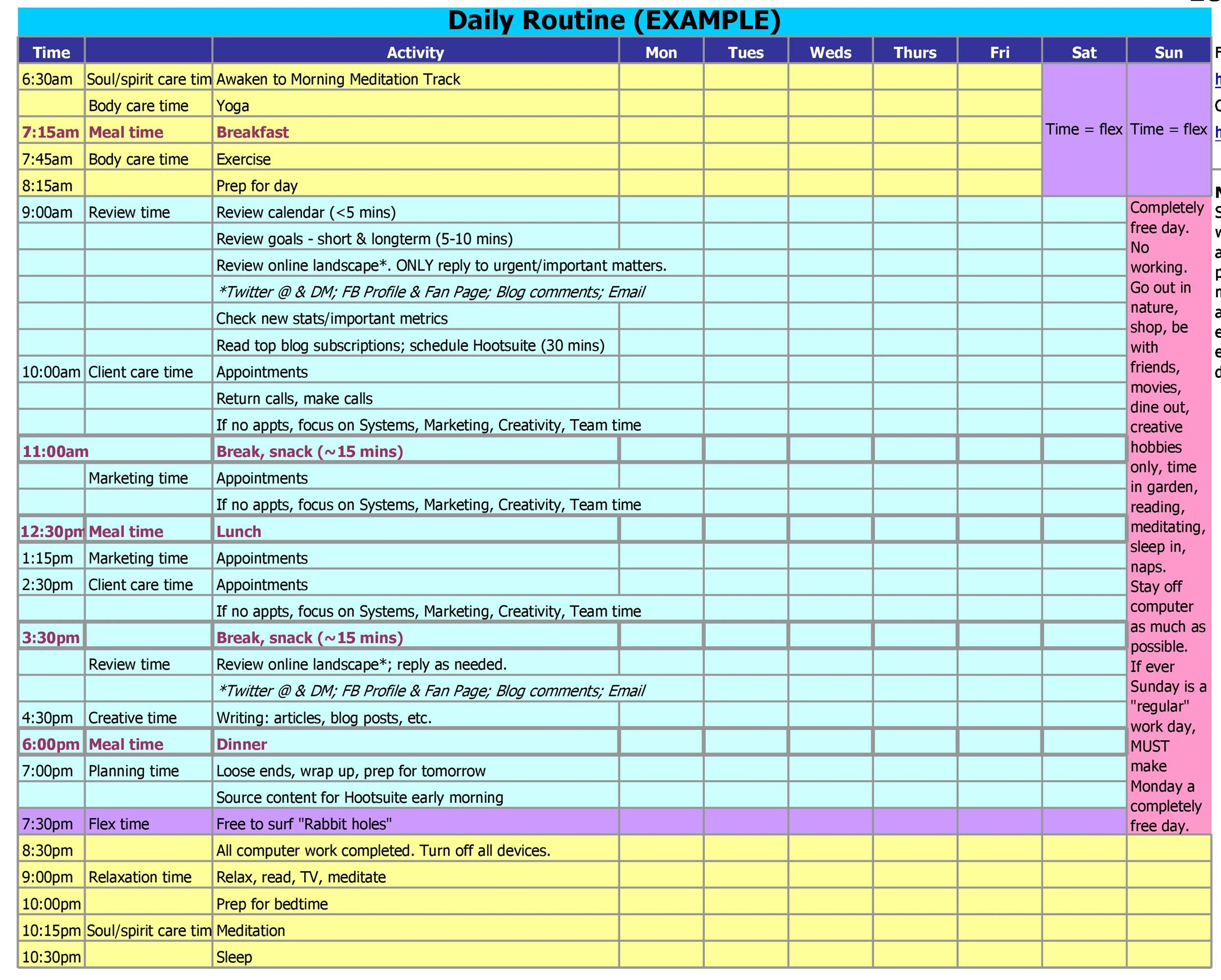 17 Perfect Daily Work Schedule Templates - Template Lab