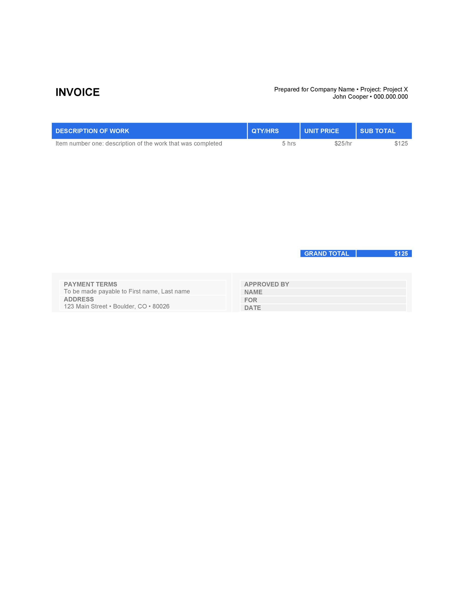 Free Invoice Template 01