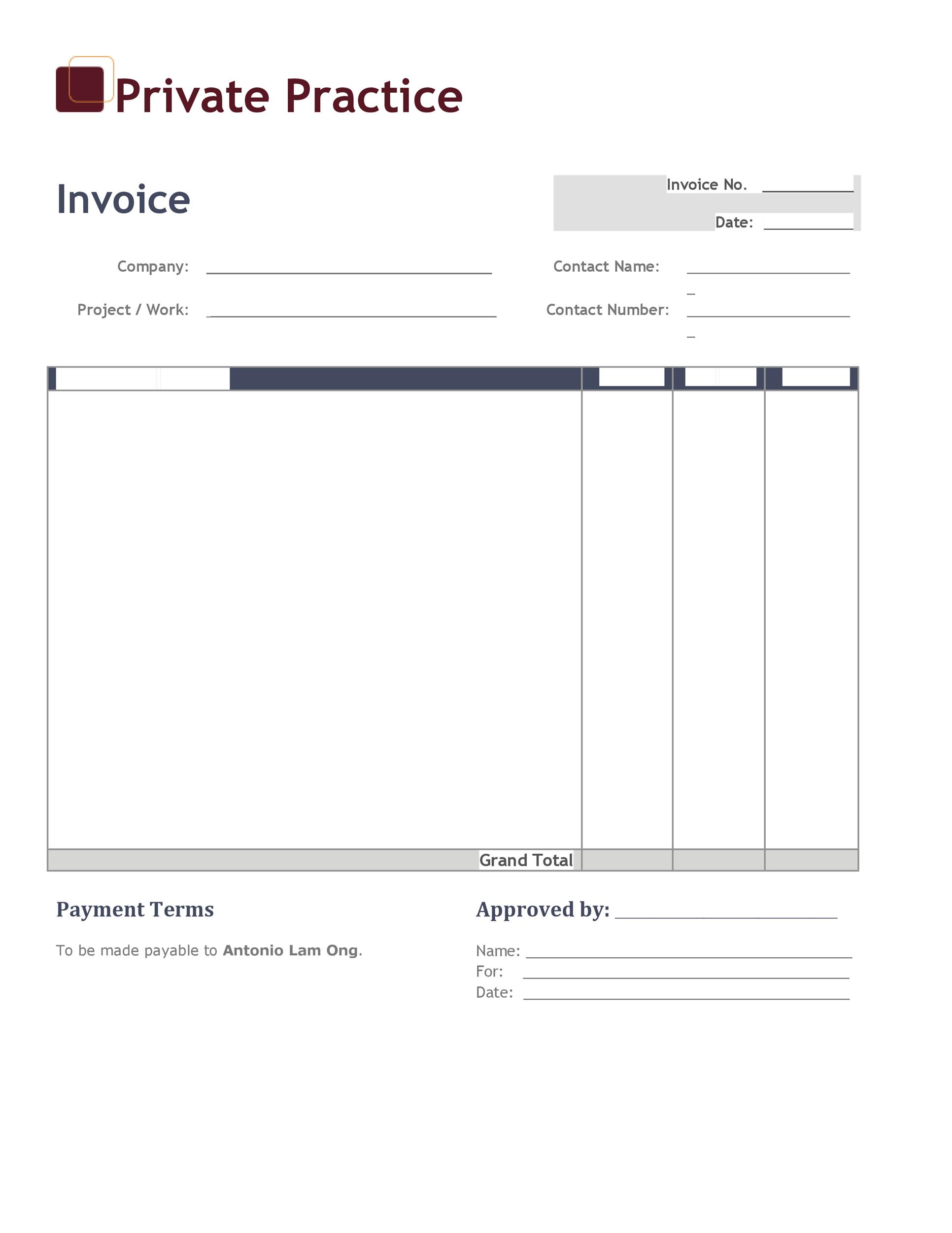 Printable Invoice Template 02  Copy Of Blank Invoice
