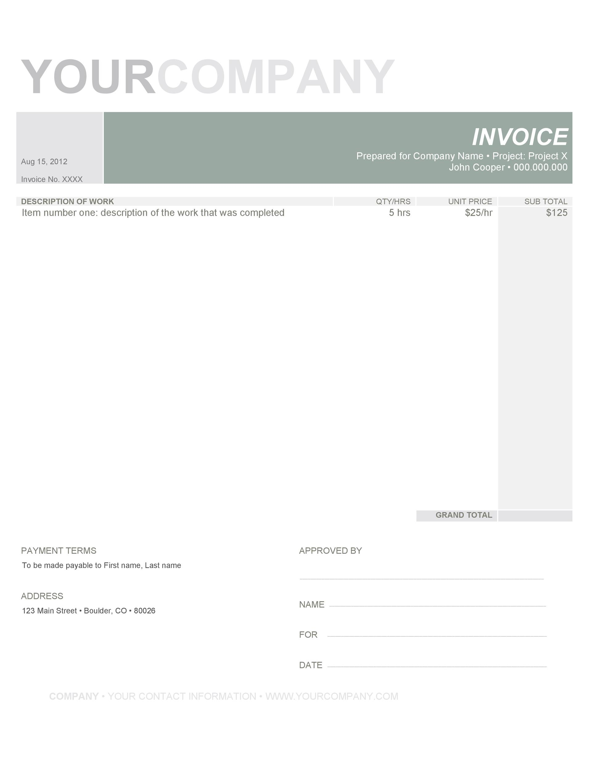 Free Invoice Template 03