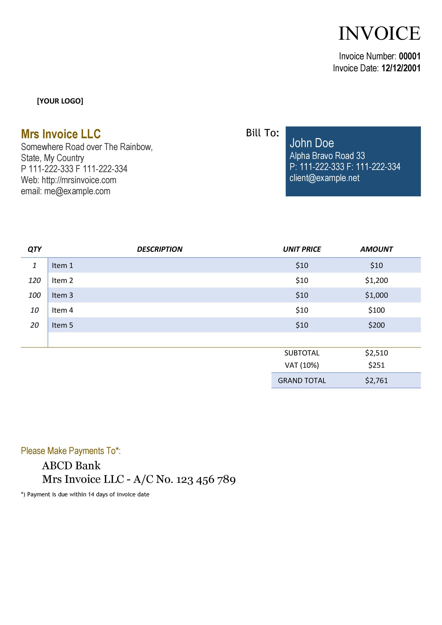 Invoice Templates Blank Commercial PDF Word Excel - It invoice template