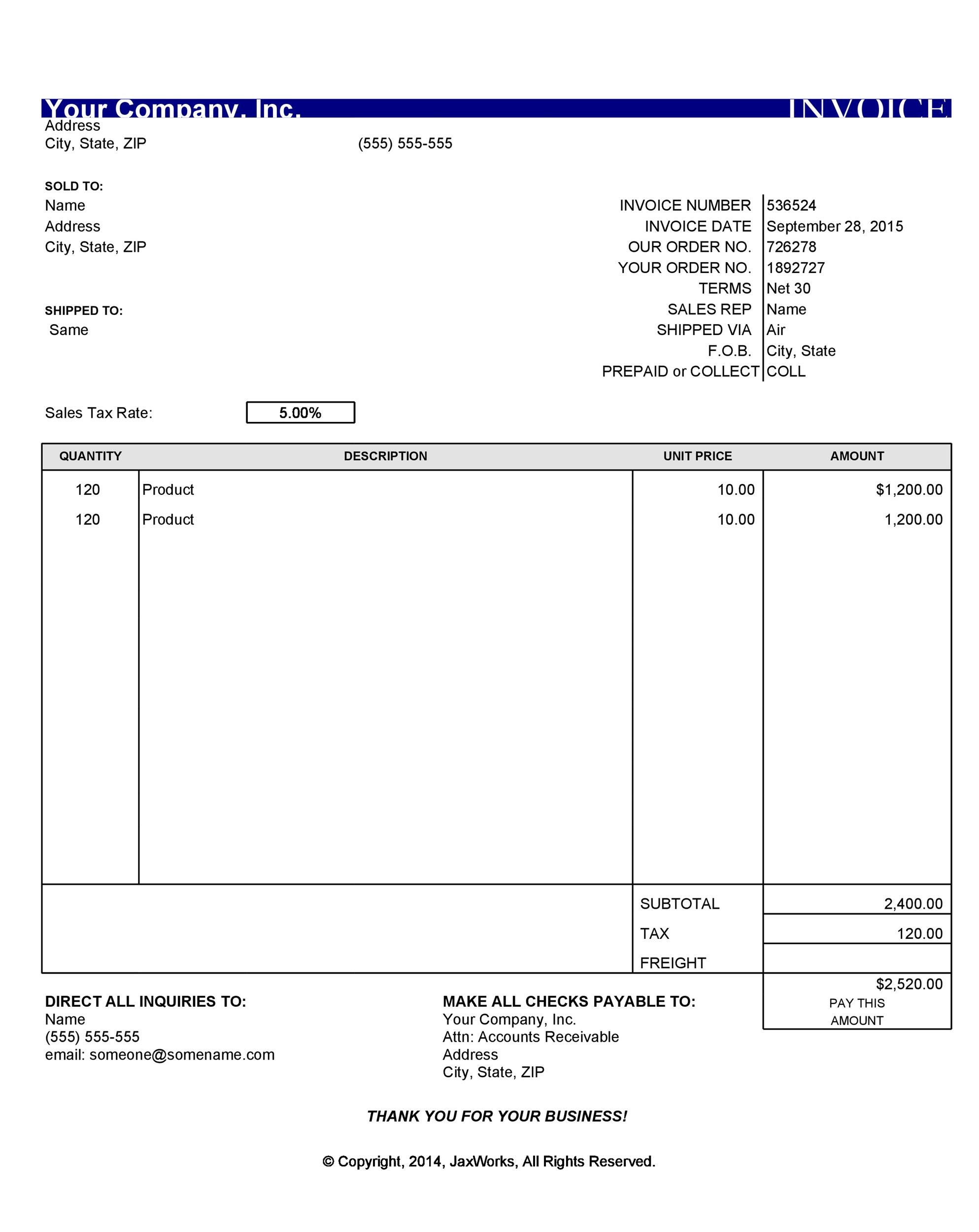 packers and movers invoice format