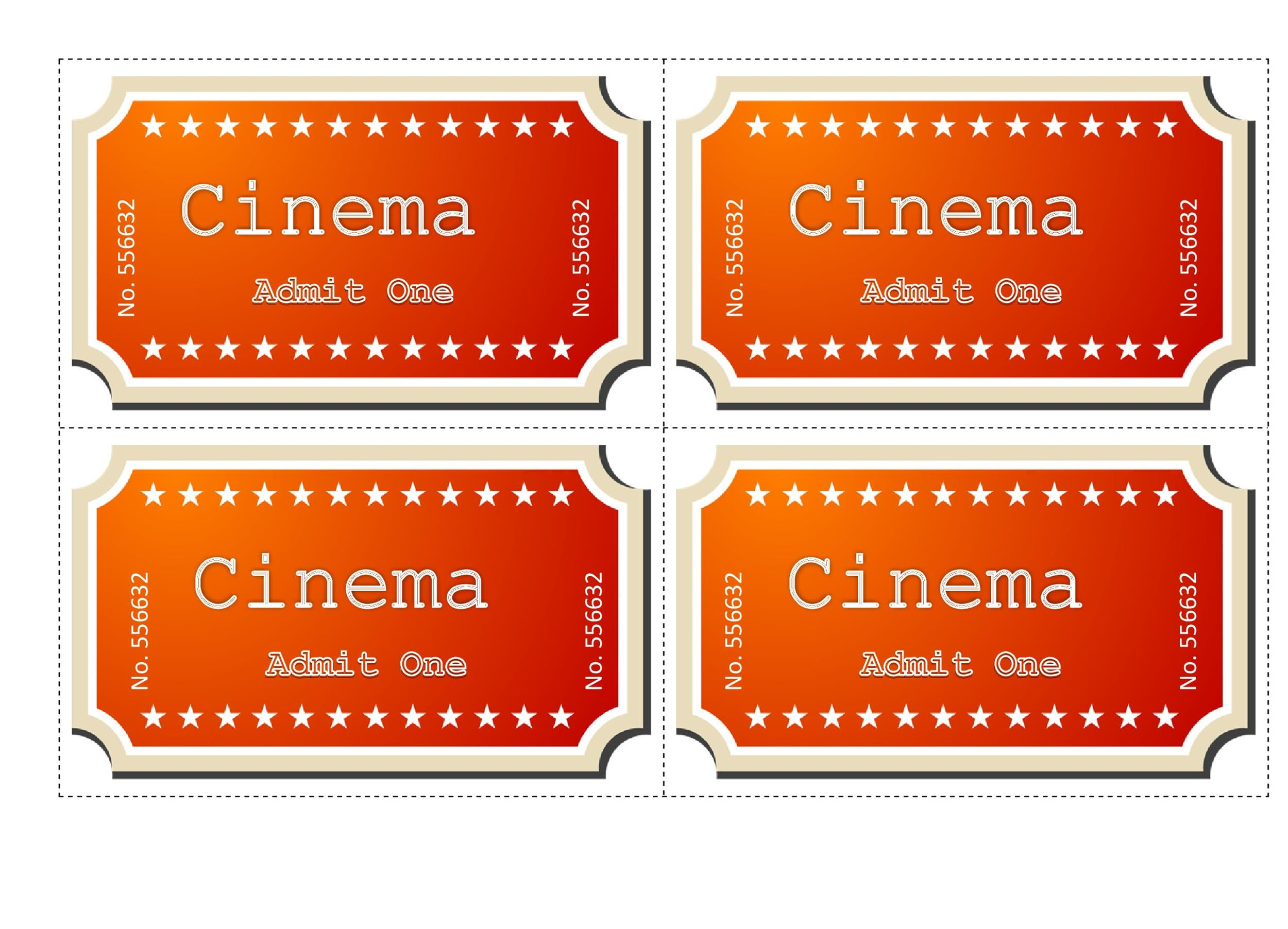 Free Movie ticket Templates 15