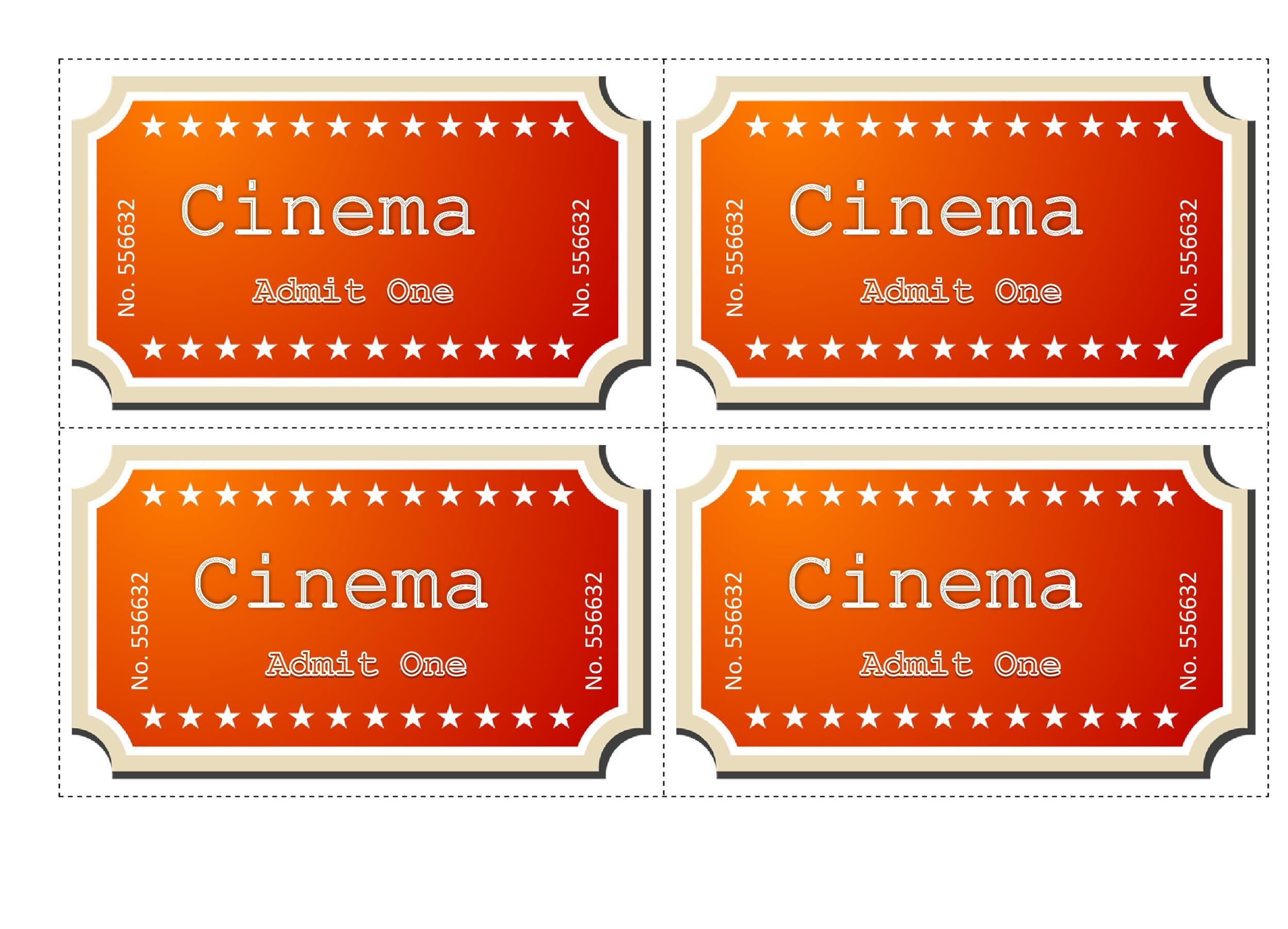 Free Movie ticket Templates 15
