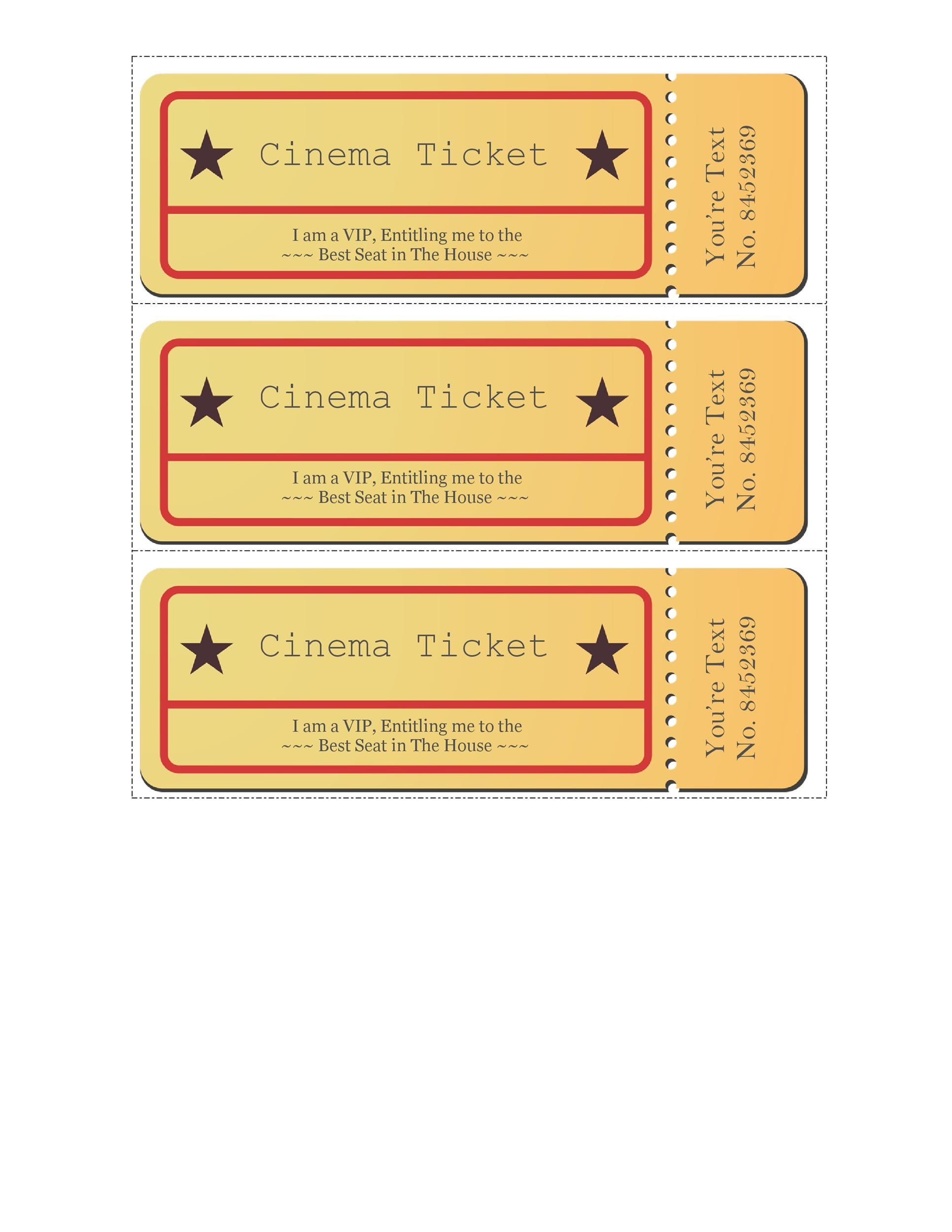 Printable Movie Ticket Templates 17  Create A Ticket Template Free