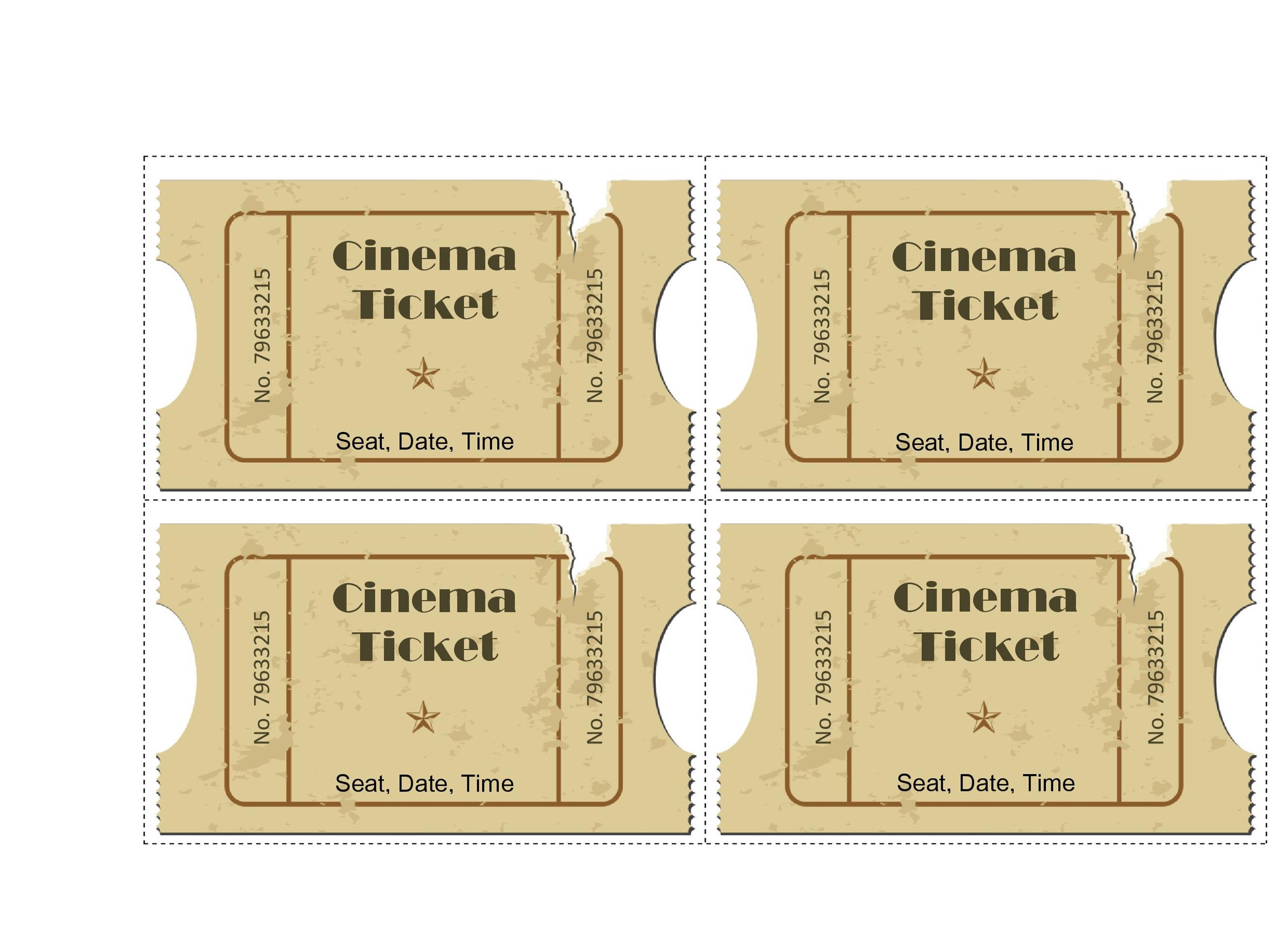 40 Free Editable Raffle Movie Ticket Templates – Movie Ticket Template for Word