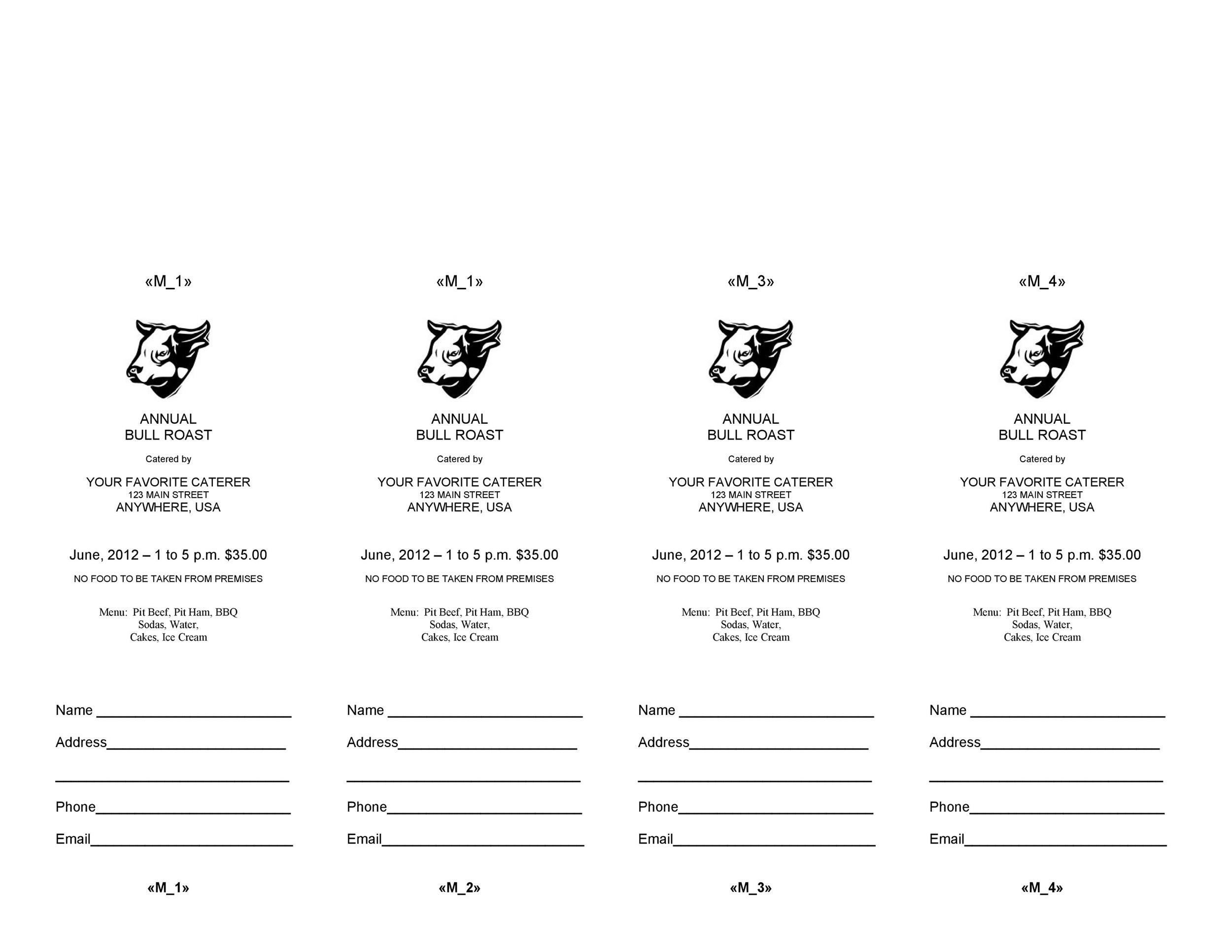 Printable Raffle Ticket Templates 03  Food Tickets Template