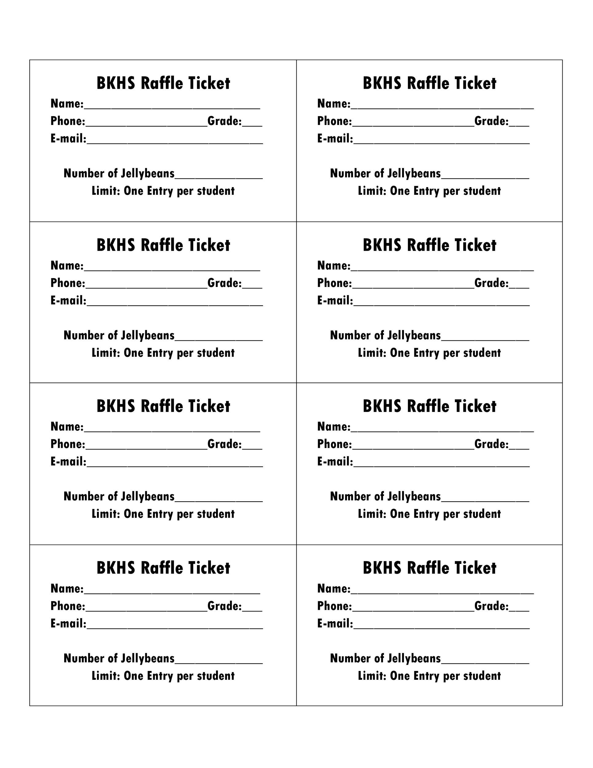 Beautiful Printable Raffle Ticket Templates 04