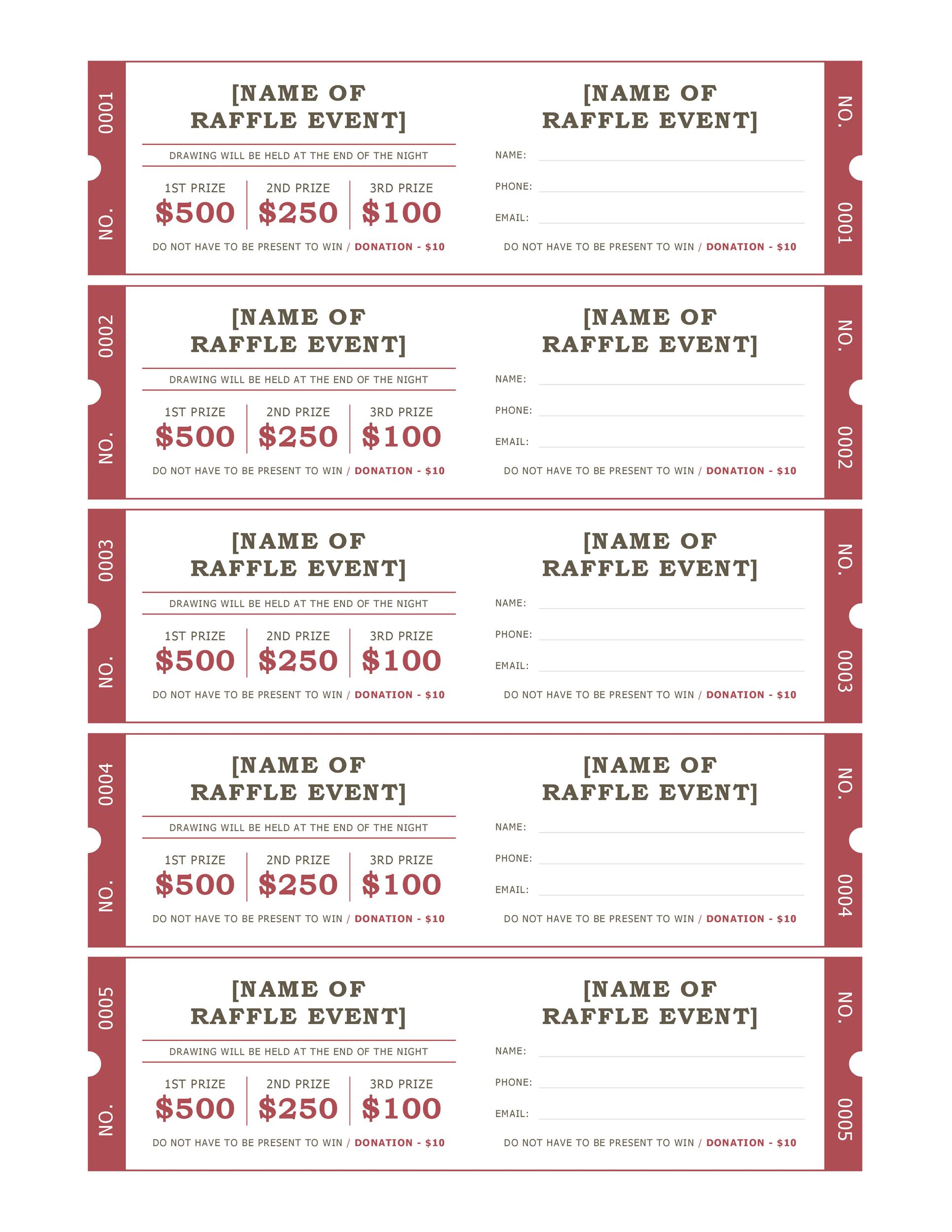 40 Free Editable Raffle Movie Ticket Templates – Sample Ticket Template