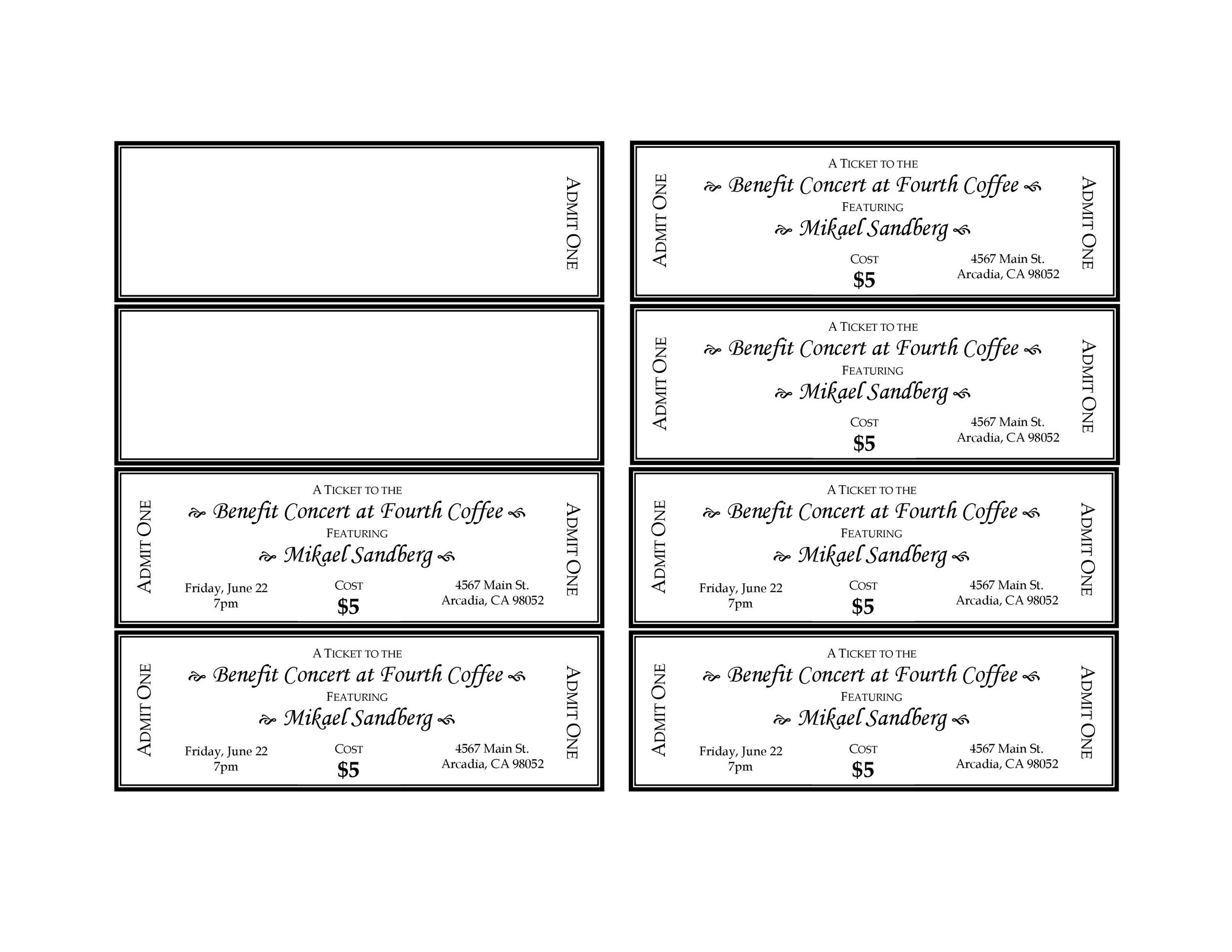 Printable Raffle Ticket Templates 11  Concert Ticket Maker