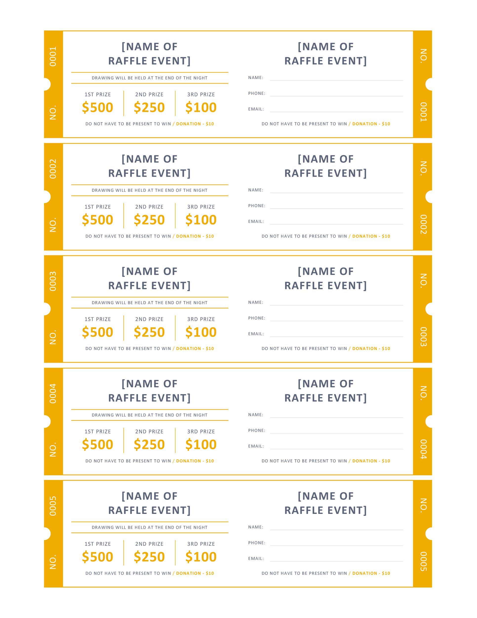 Free Raffle Ticket Templates 12