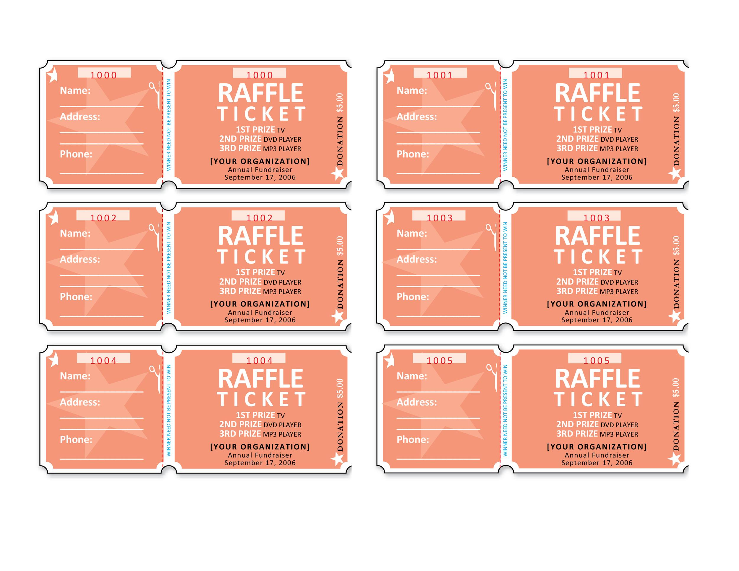 Printable Raffle Ticket Templates 14  Fundraiser Ticket Template