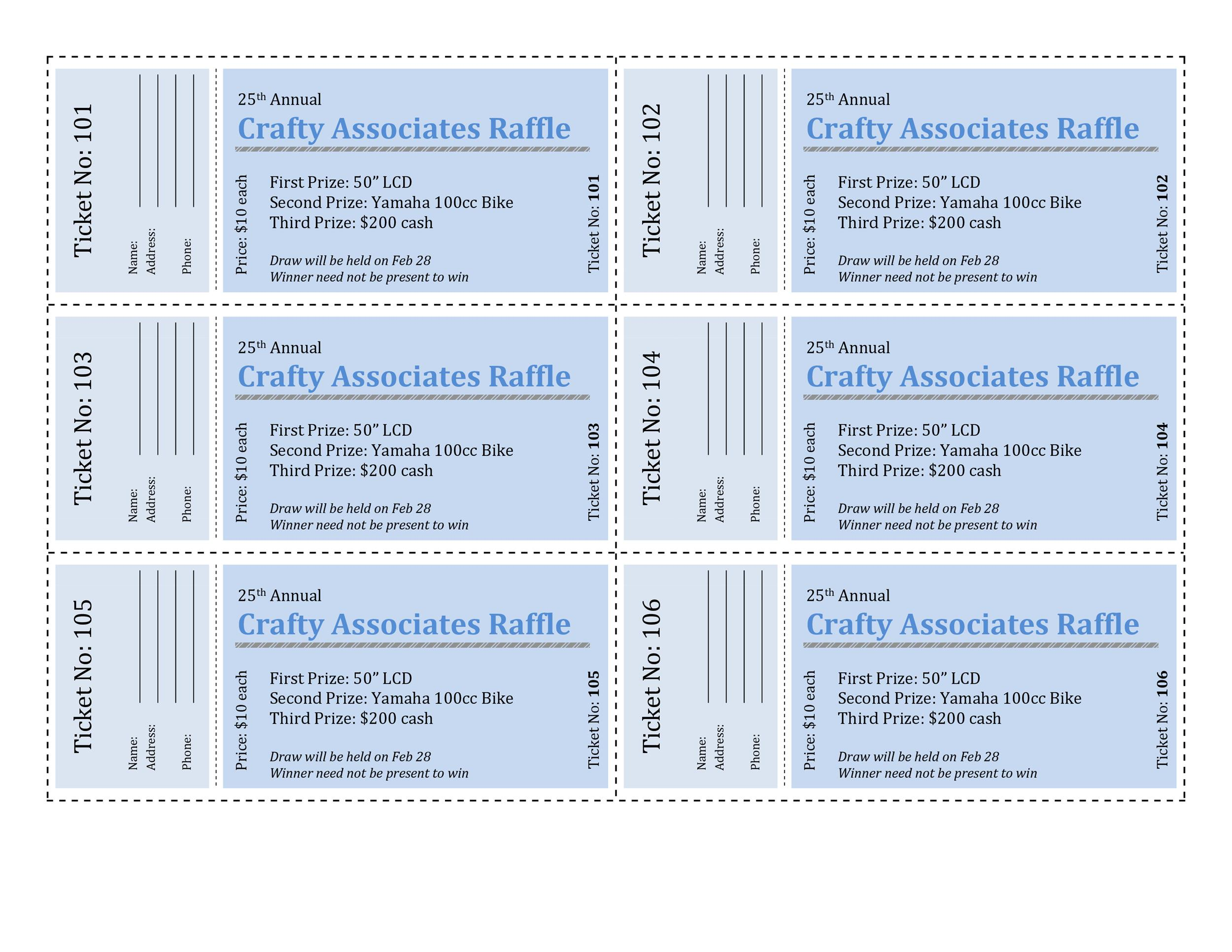 Printable Raffle Ticket Templates 21  Numbering Tickets In Word