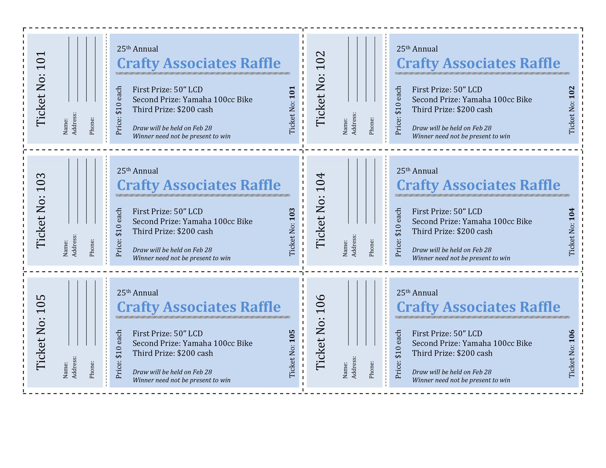 Free Raffle Ticket Templates 21