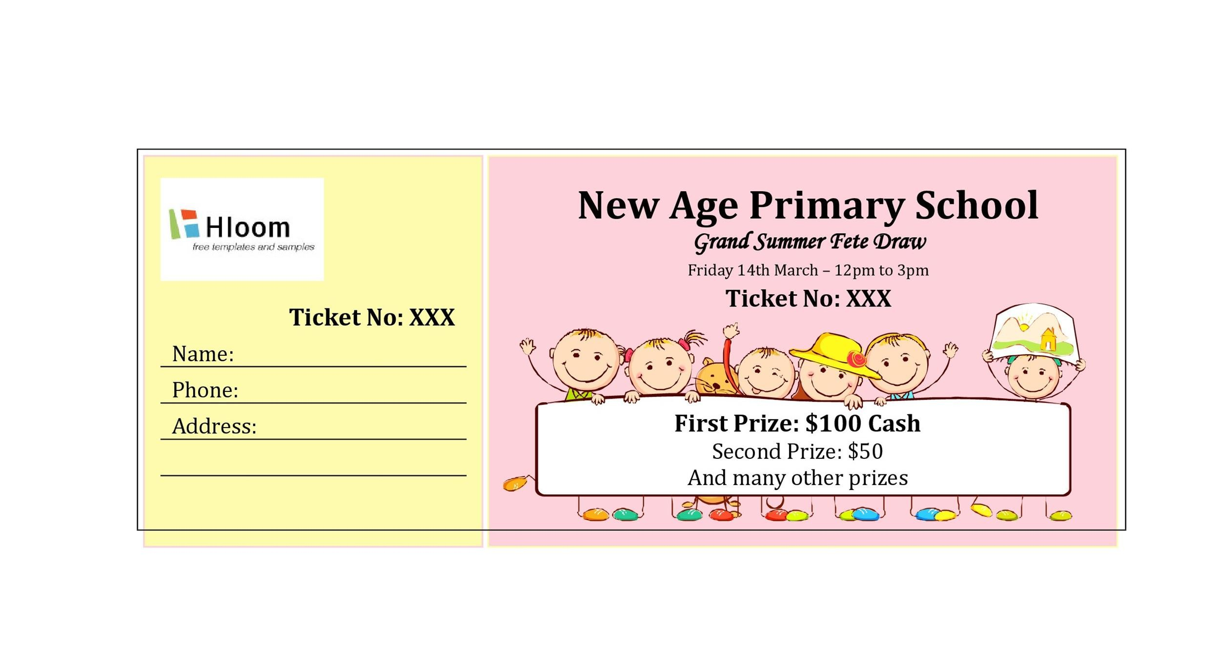 Printable Raffle Ticket Templates 30  Free Event Ticket Template Microsoft Word