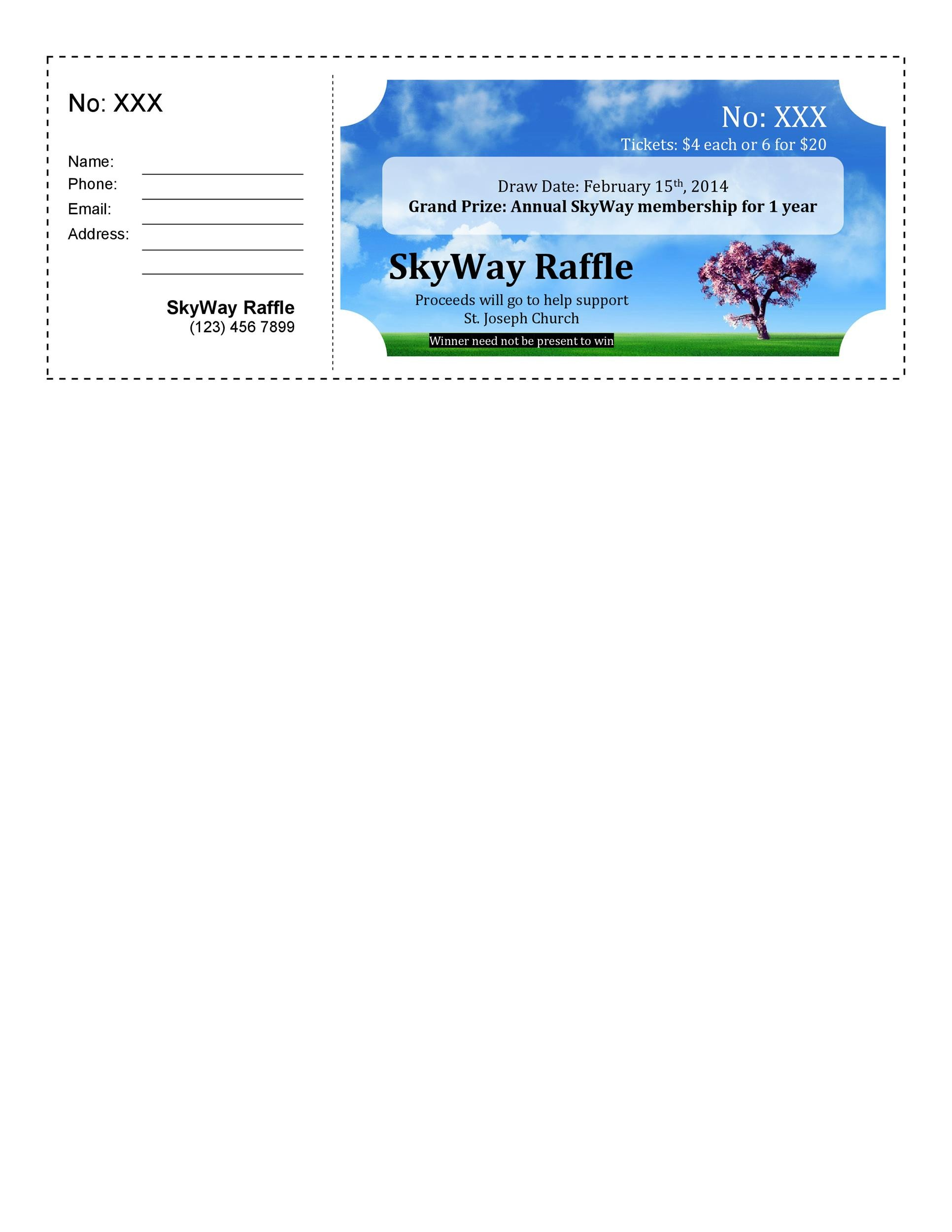 40 Free Editable Raffle Movie Ticket Templates – Raffle Ticket Maker