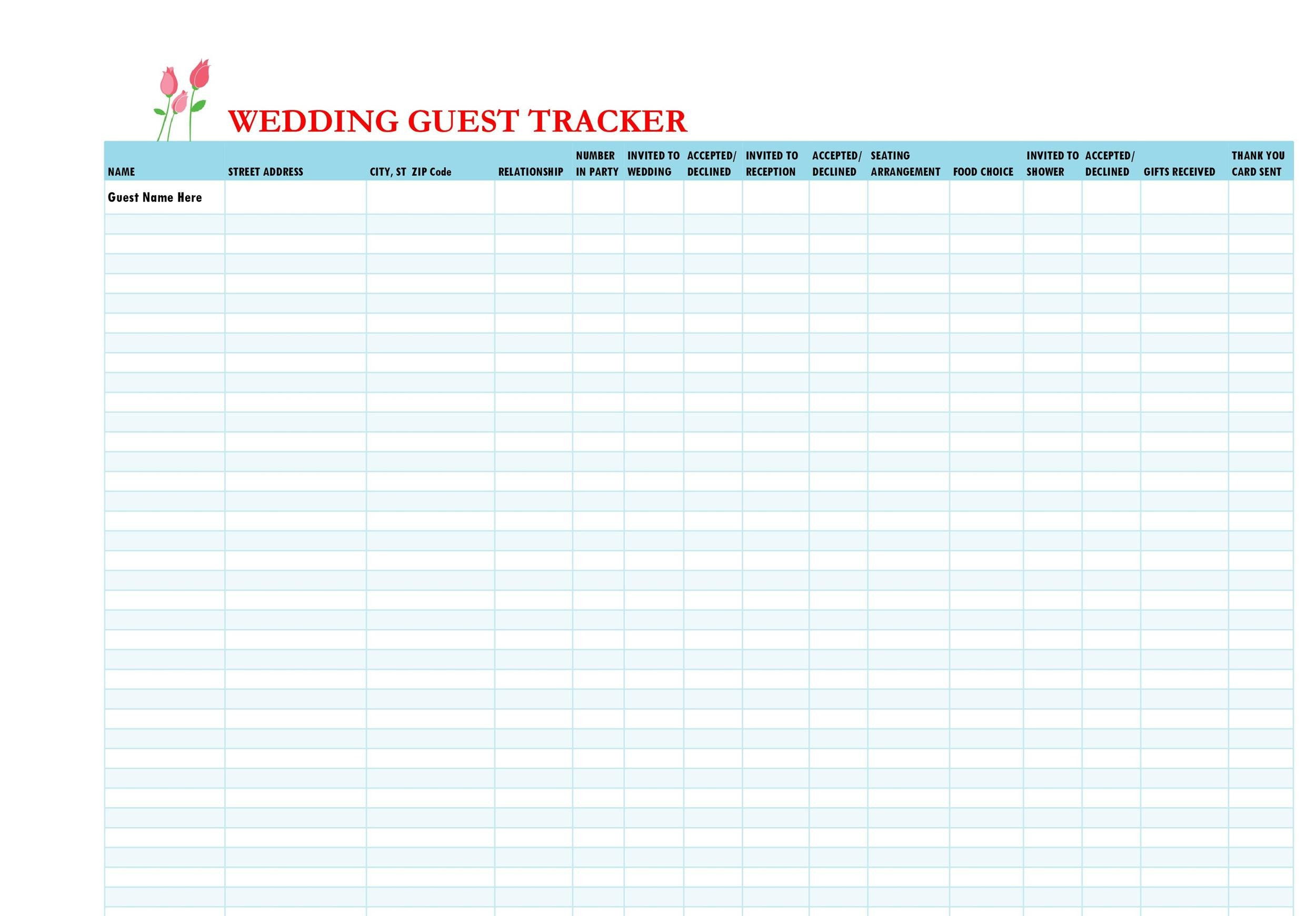 Free Wedding Guest List Template 01