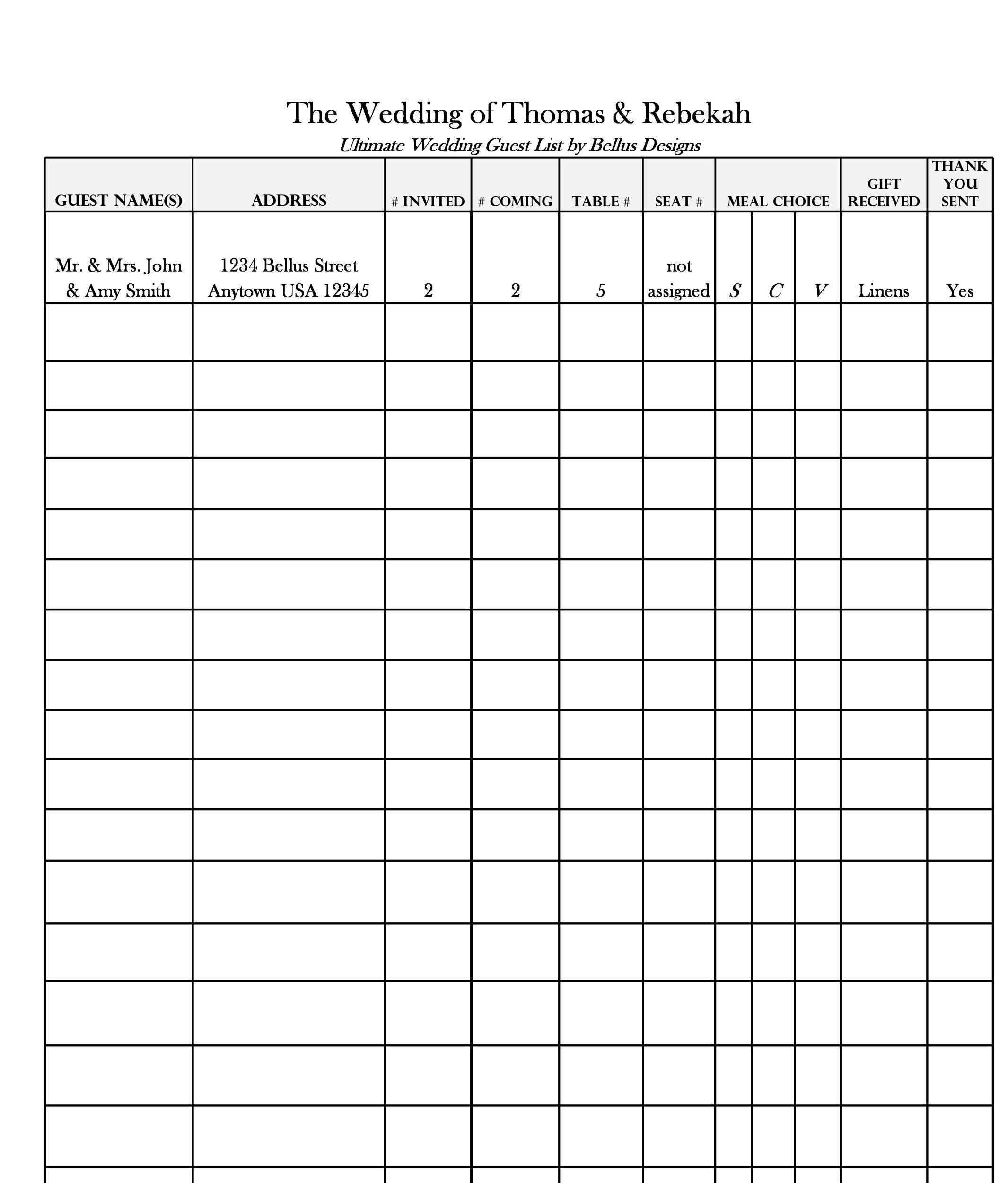 Printable Wedding Guest List Template 07  Printable Wedding Guest List Spreadsheet