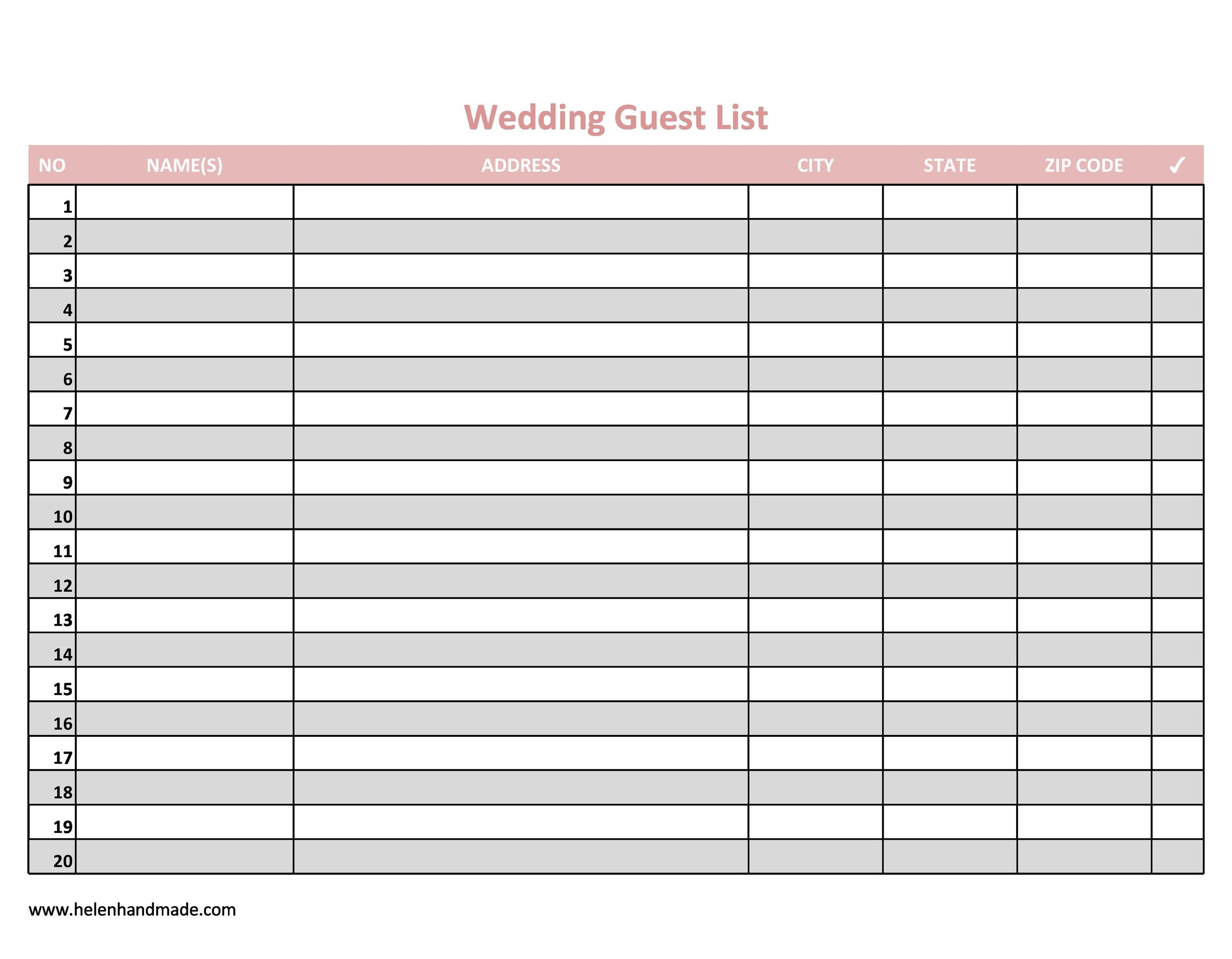 Printable Wedding Guest List Template 08