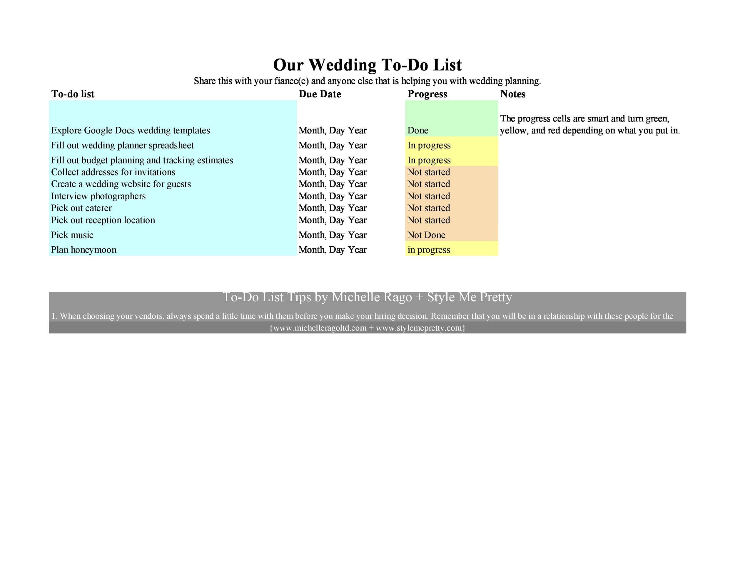 Free Wedding Guest List Template 12