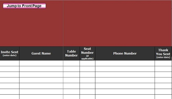 Free Wedding Guest List Template 19