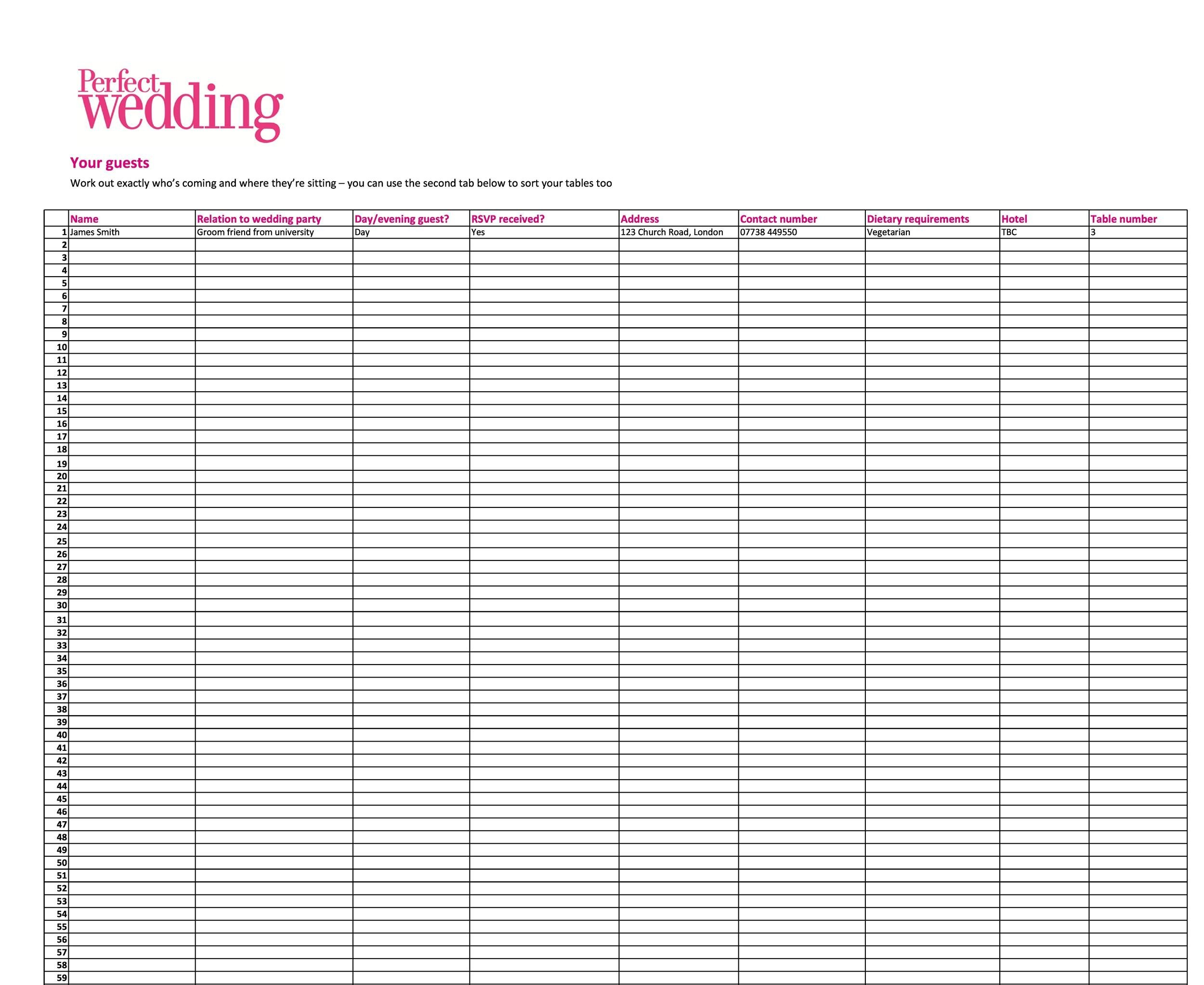 Printable Wedding Guest List Template 23