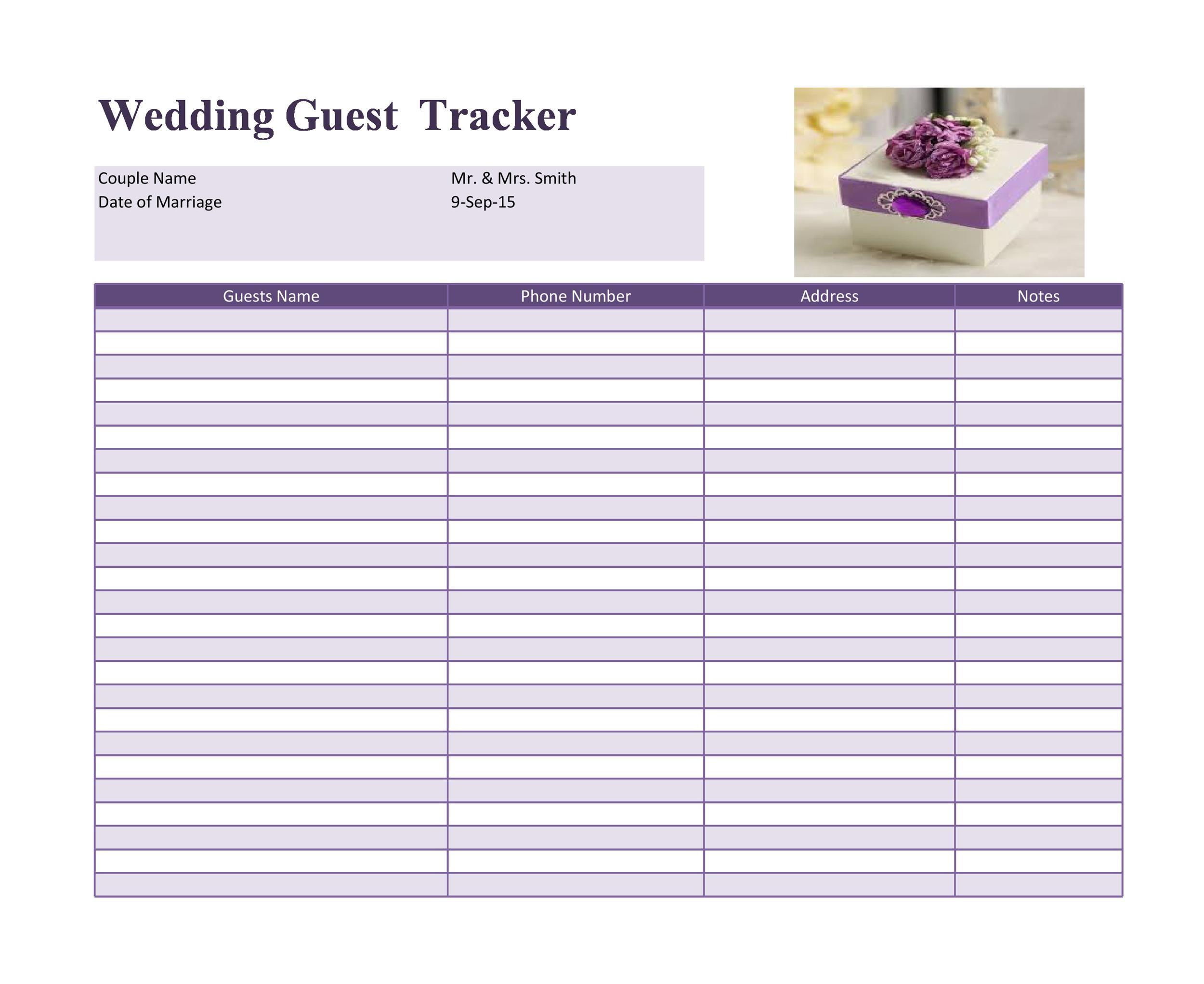 Free Wedding Guest List Template 27