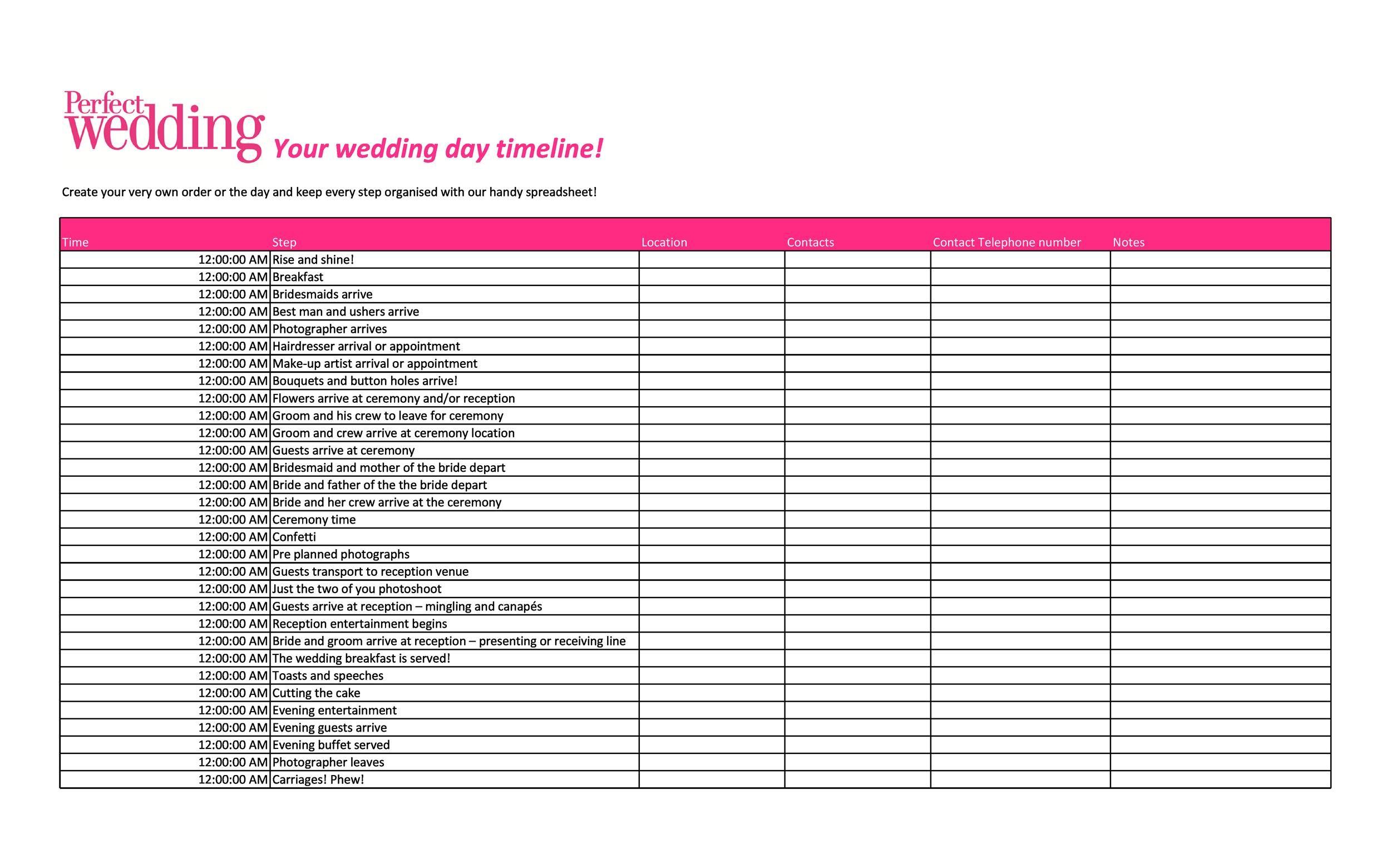 Free Wedding Guest List Template 29