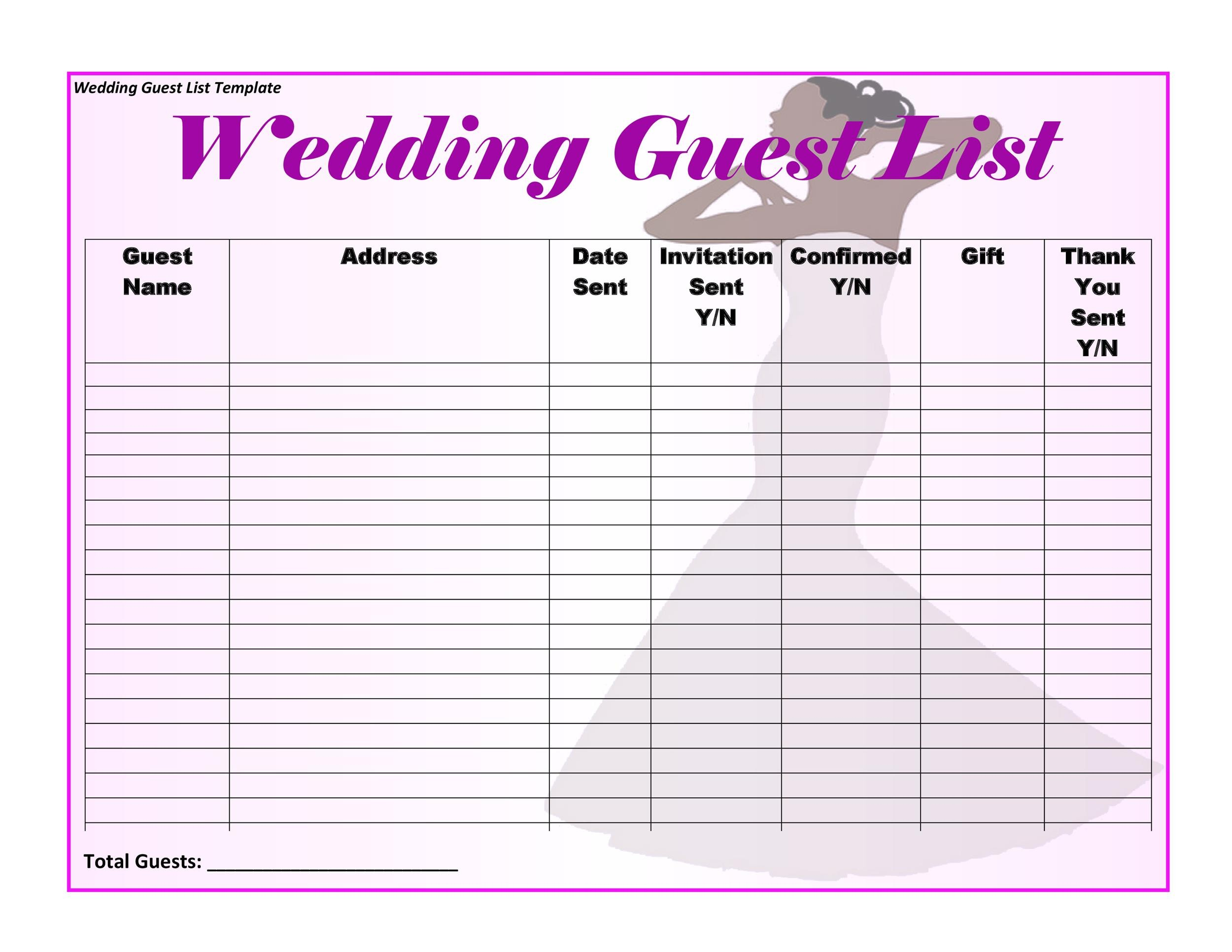 Printable Wedding Guest List Template 35  Free Wedding Guest List Template