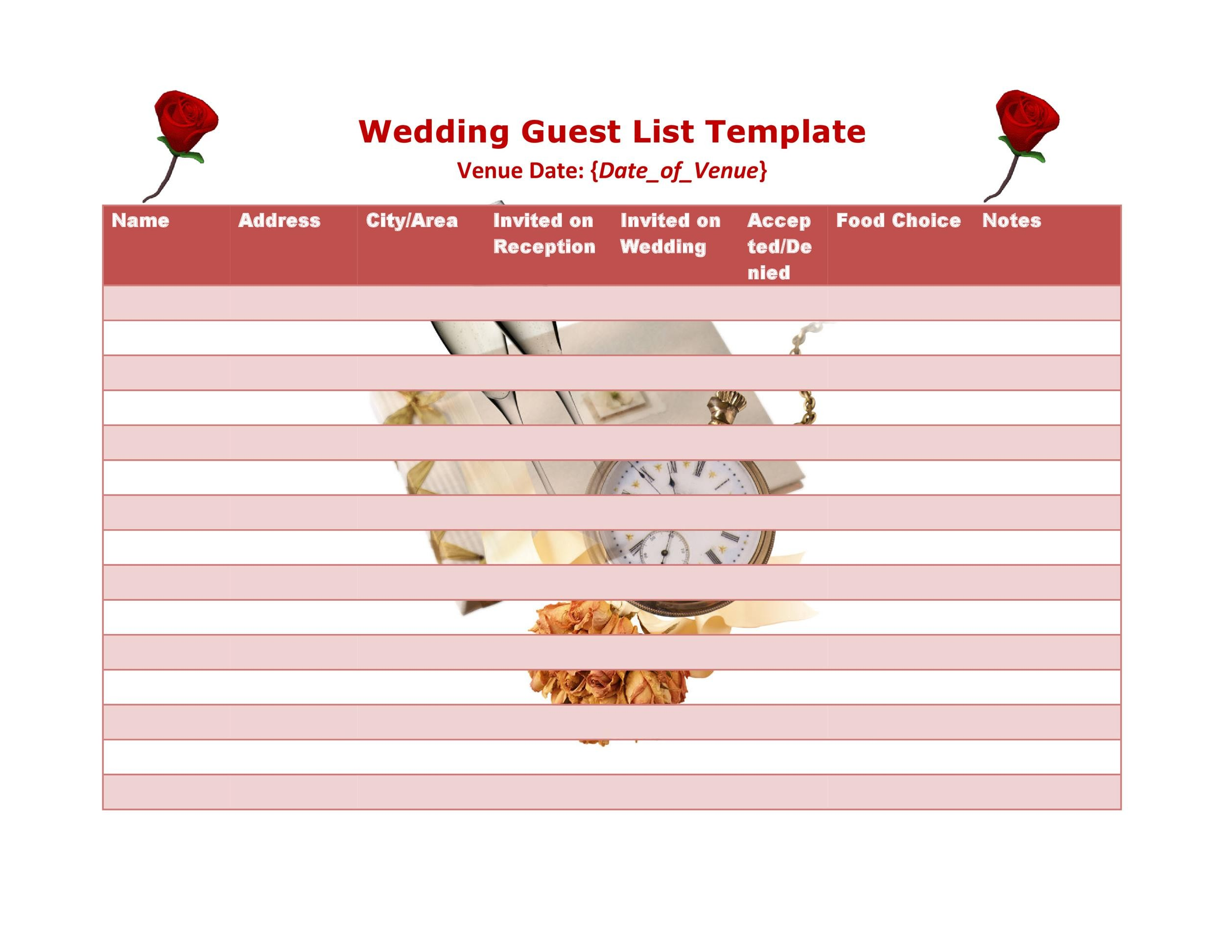 Free Wedding Guest List Template 36