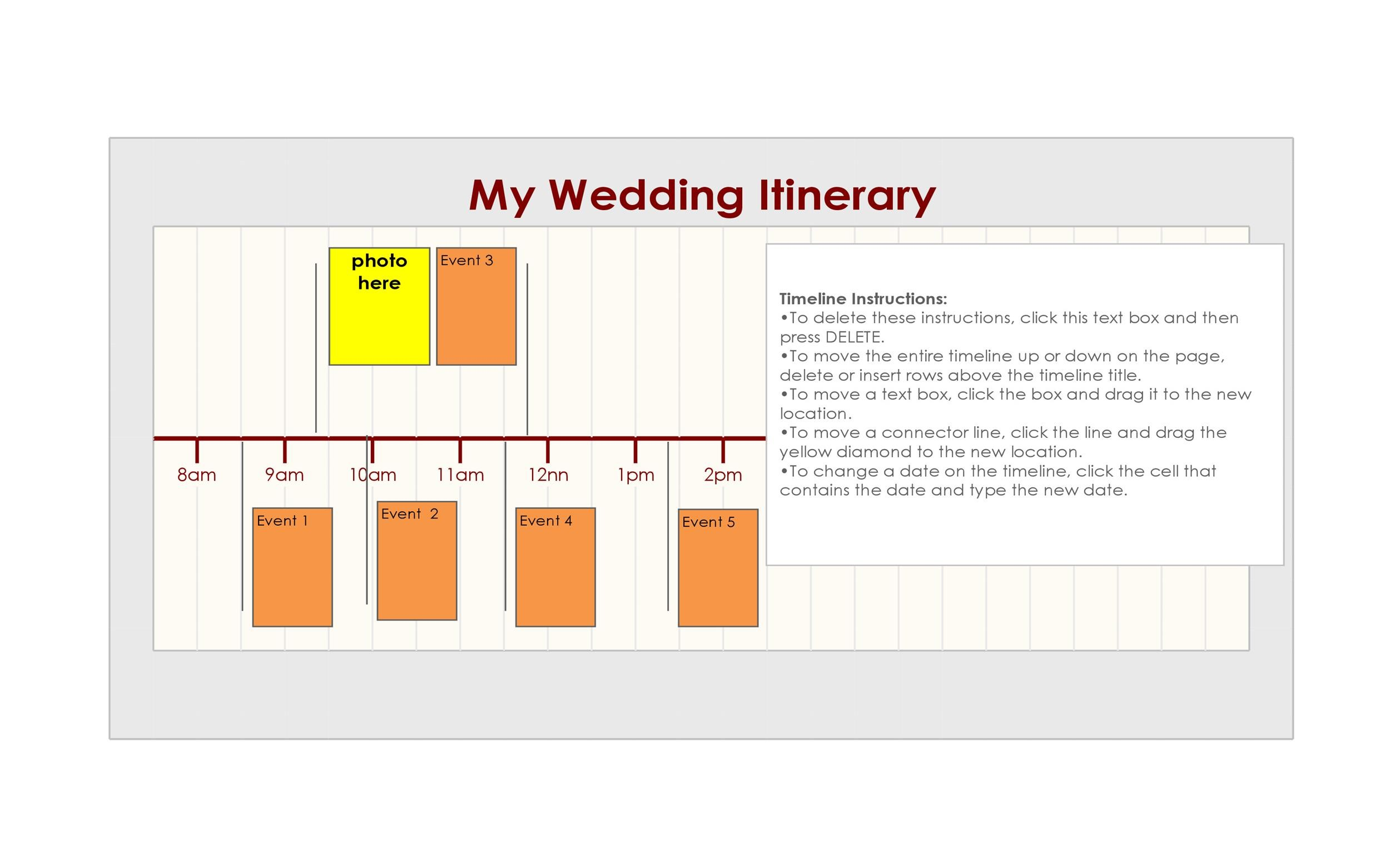 Free Wedding Itinerary Template 03