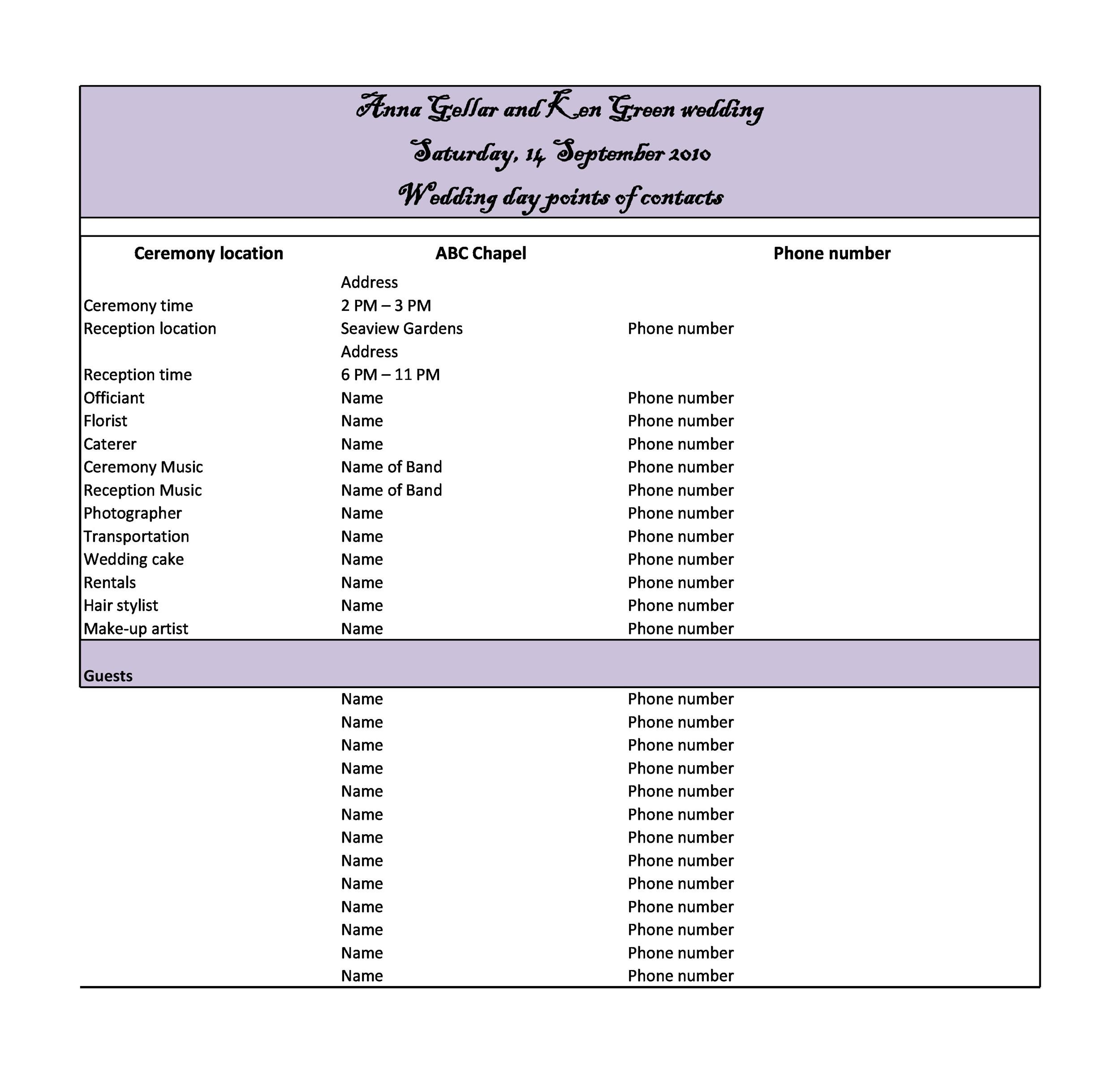 35 beautiful wedding guest list itinerary templates printable wedding itinerary template 04 pronofoot35fo Images