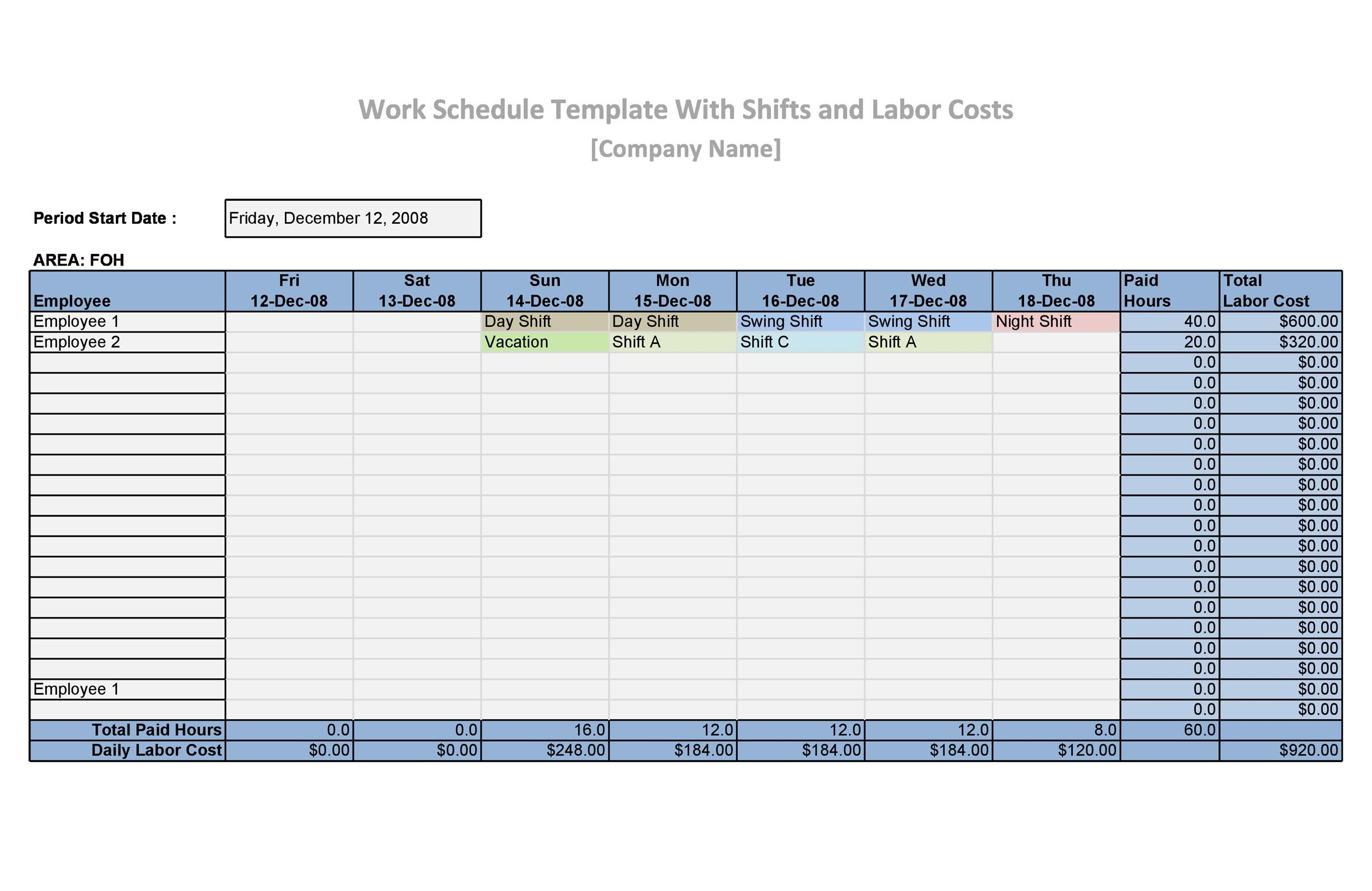 employee schedules templates free
