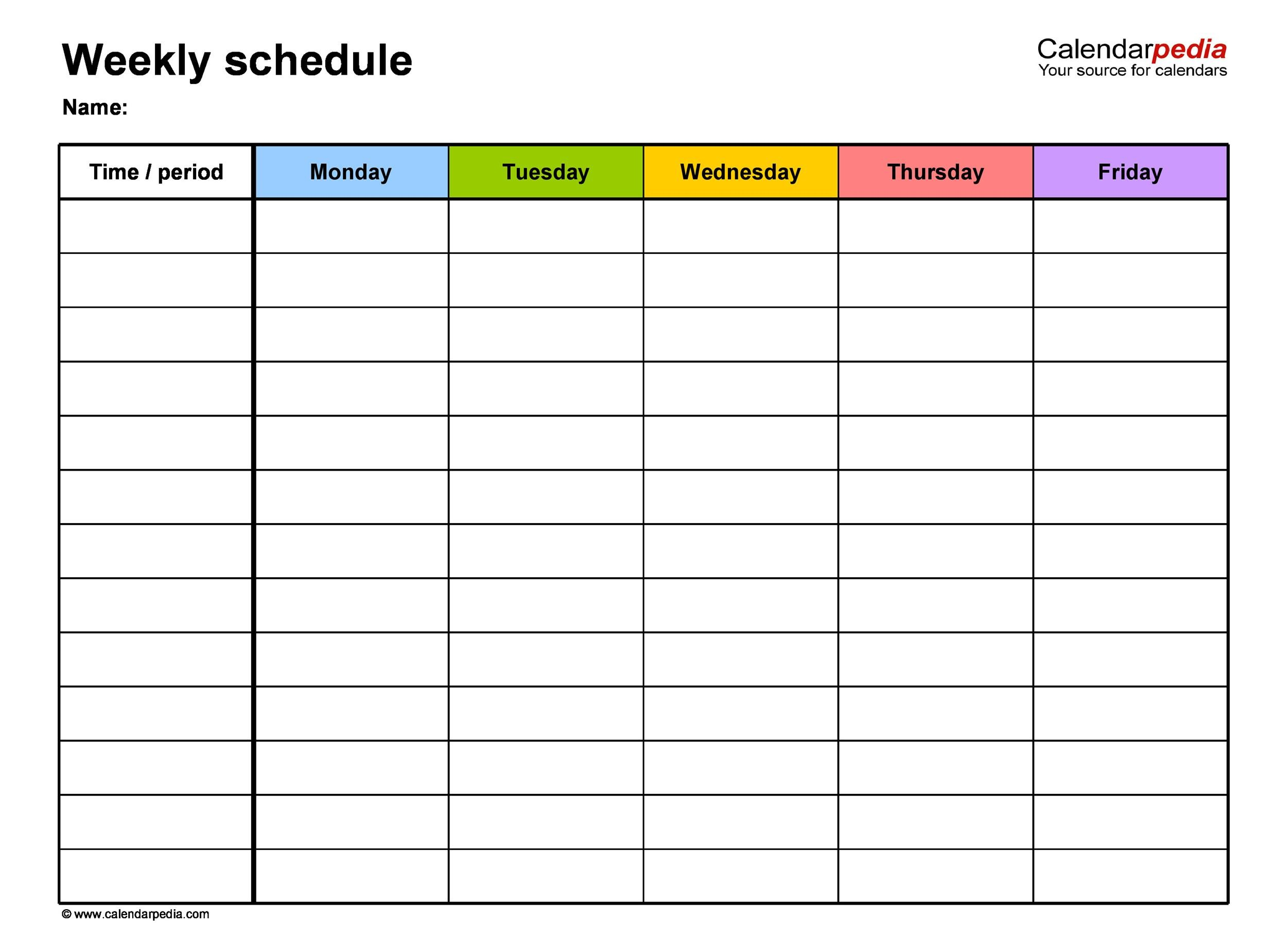 Printable Work Schedule Template 14