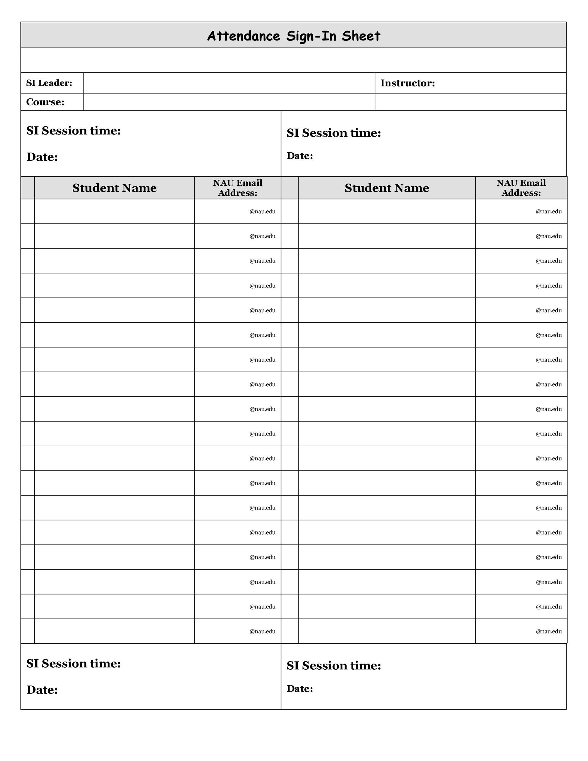 Free Printable Attendance Sheet Templates