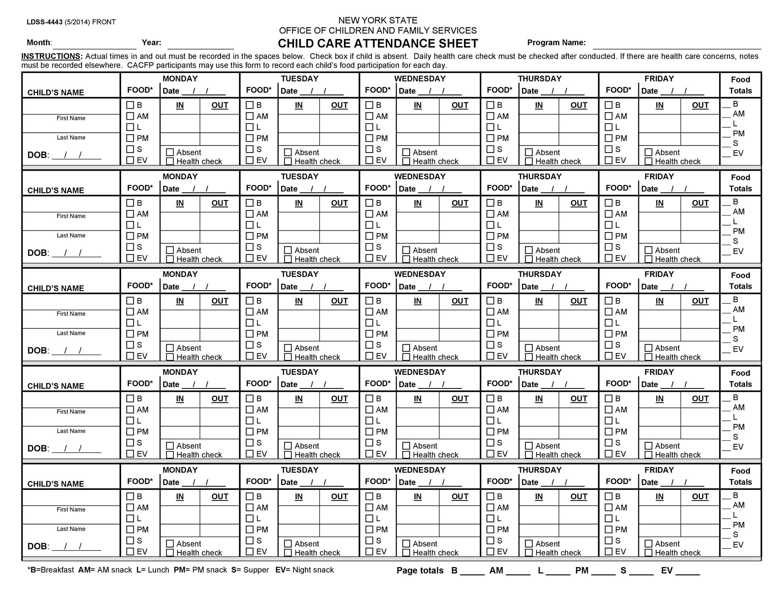 Printable Attendance Sheet 02  Attendance Template Word